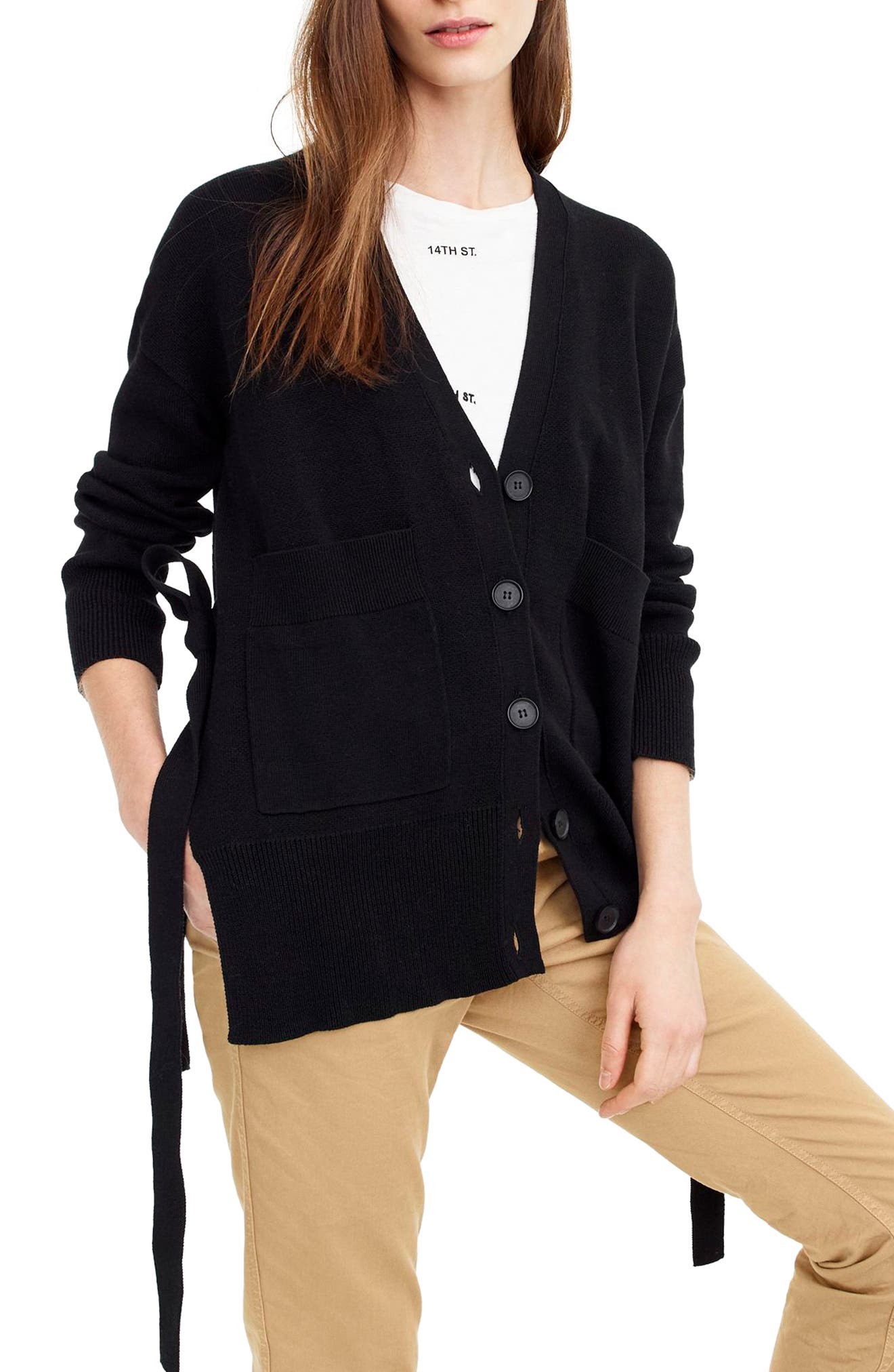 Slouchy Cardigan with Side Ties,                             Main thumbnail 1, color,                             Black