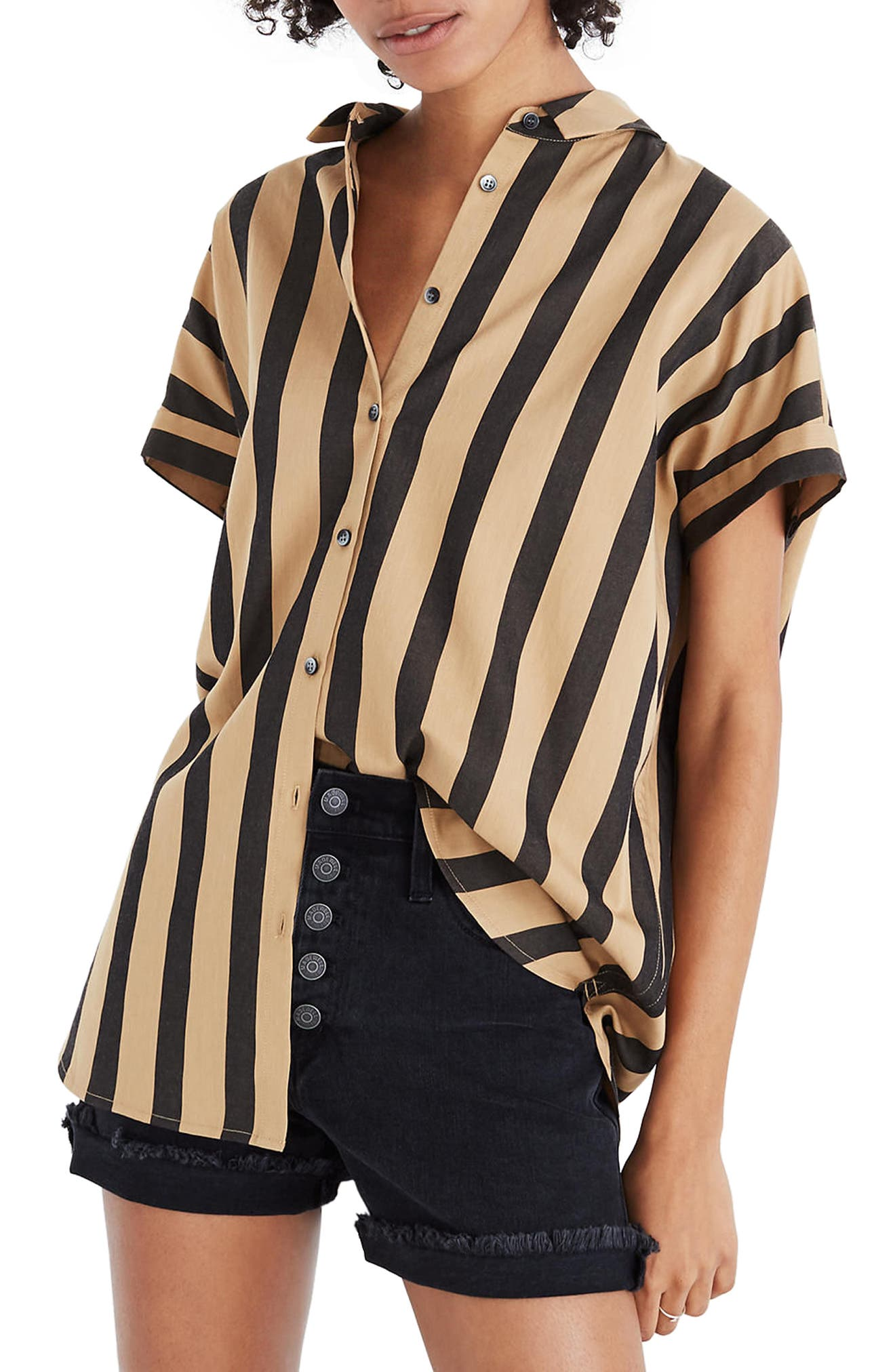 Central Edna Stripe Shirt,                             Main thumbnail 1, color,                             Truffle