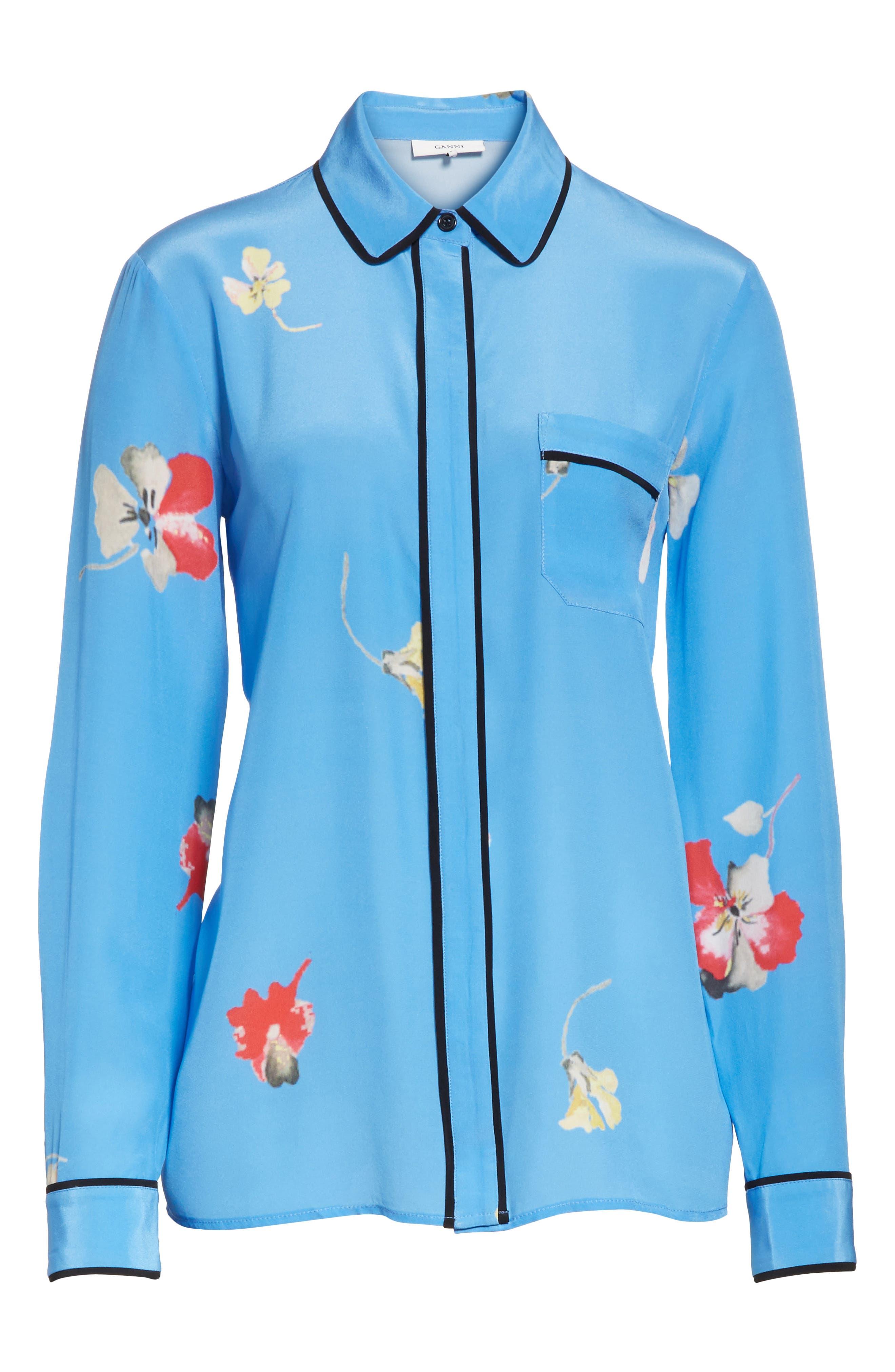 Joycedale Floral Silk Shirt,                             Alternate thumbnail 6, color,                             Marina
