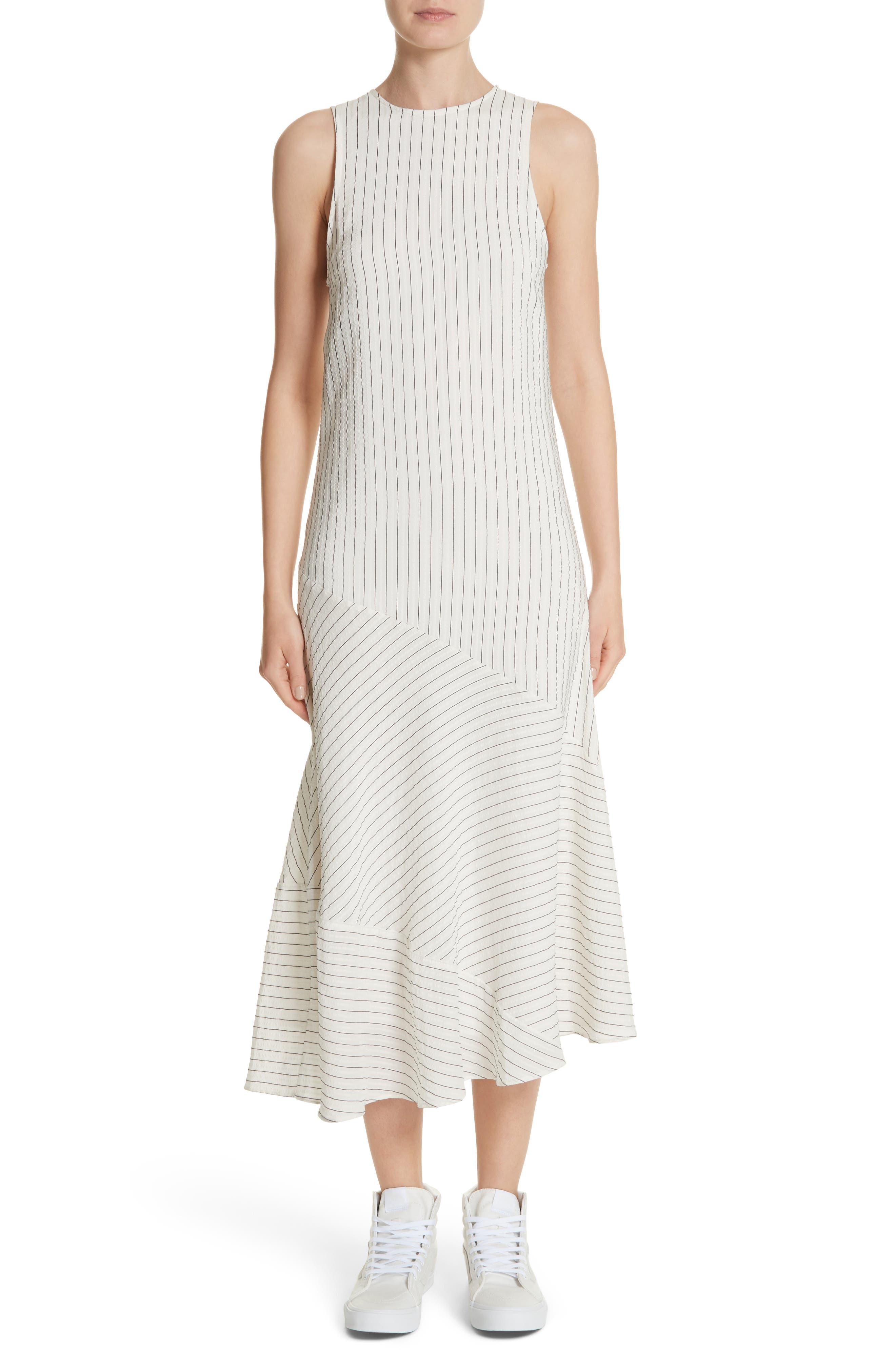 GANNI Wilkie Seersucker Striped Sheath Dress