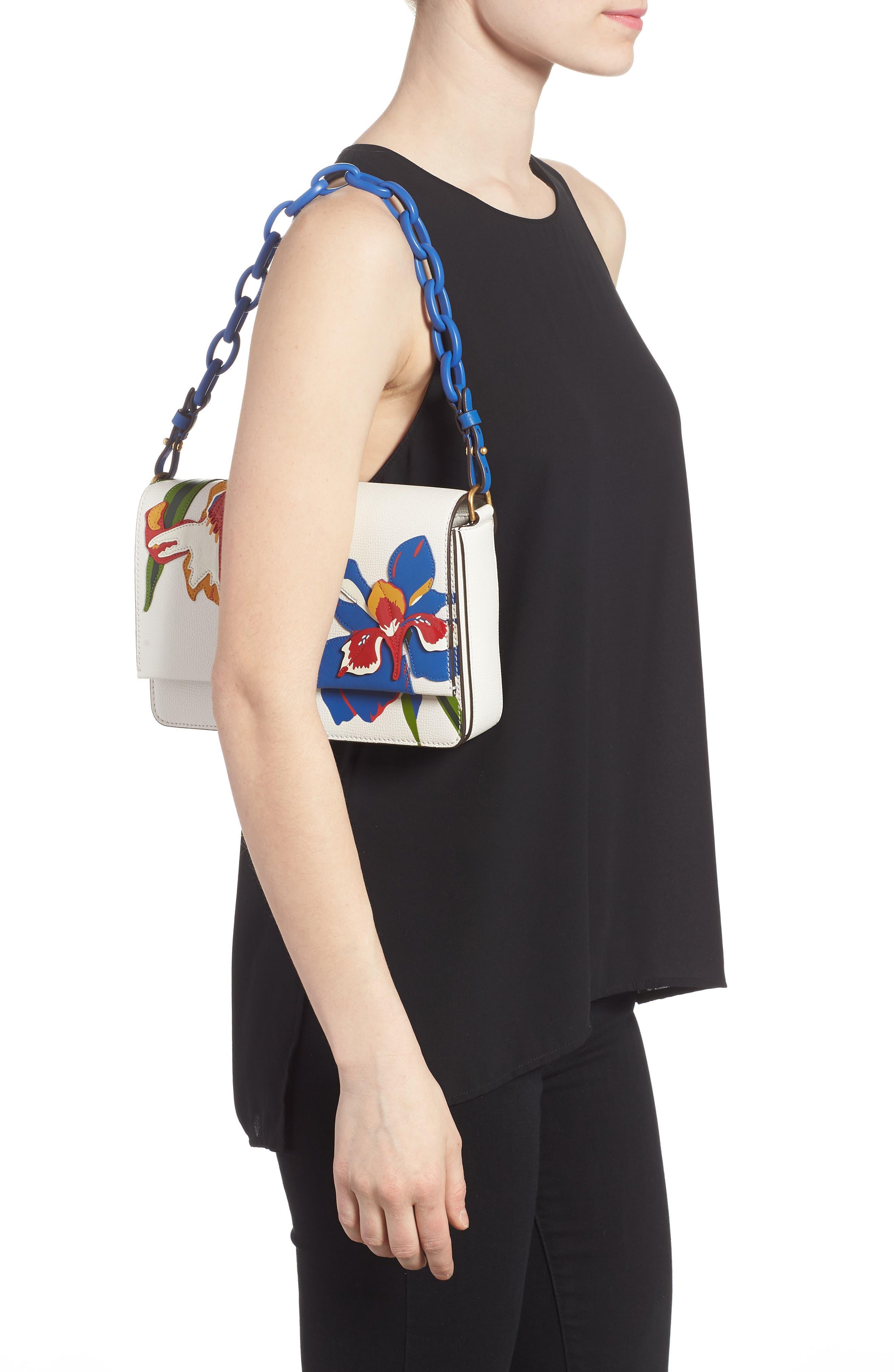 Kira Appliqué Flower Leather Shoulder Bag,                             Alternate thumbnail 2, color,                             Painted Iris