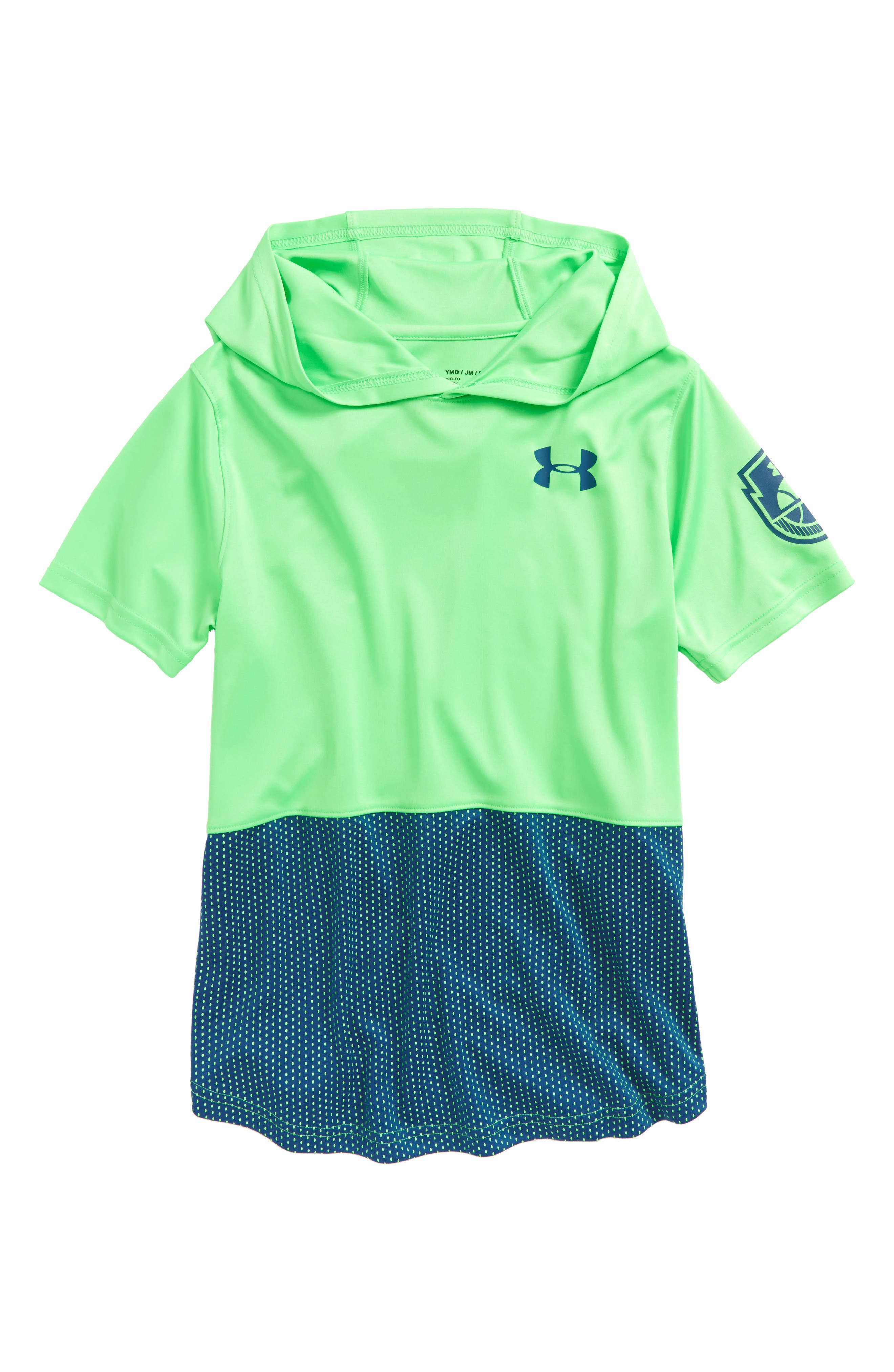 Baseline HeatGear<sup>®</sup> Hooded T-Shirt,                         Main,                         color, Arena Green/ Moroccan Blue