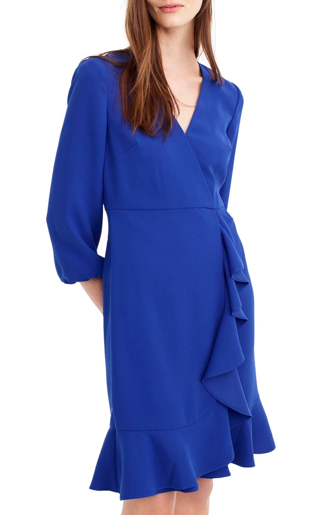 Drapey Ruffle Front Dress,                         Main,                         color, Bright Ocean