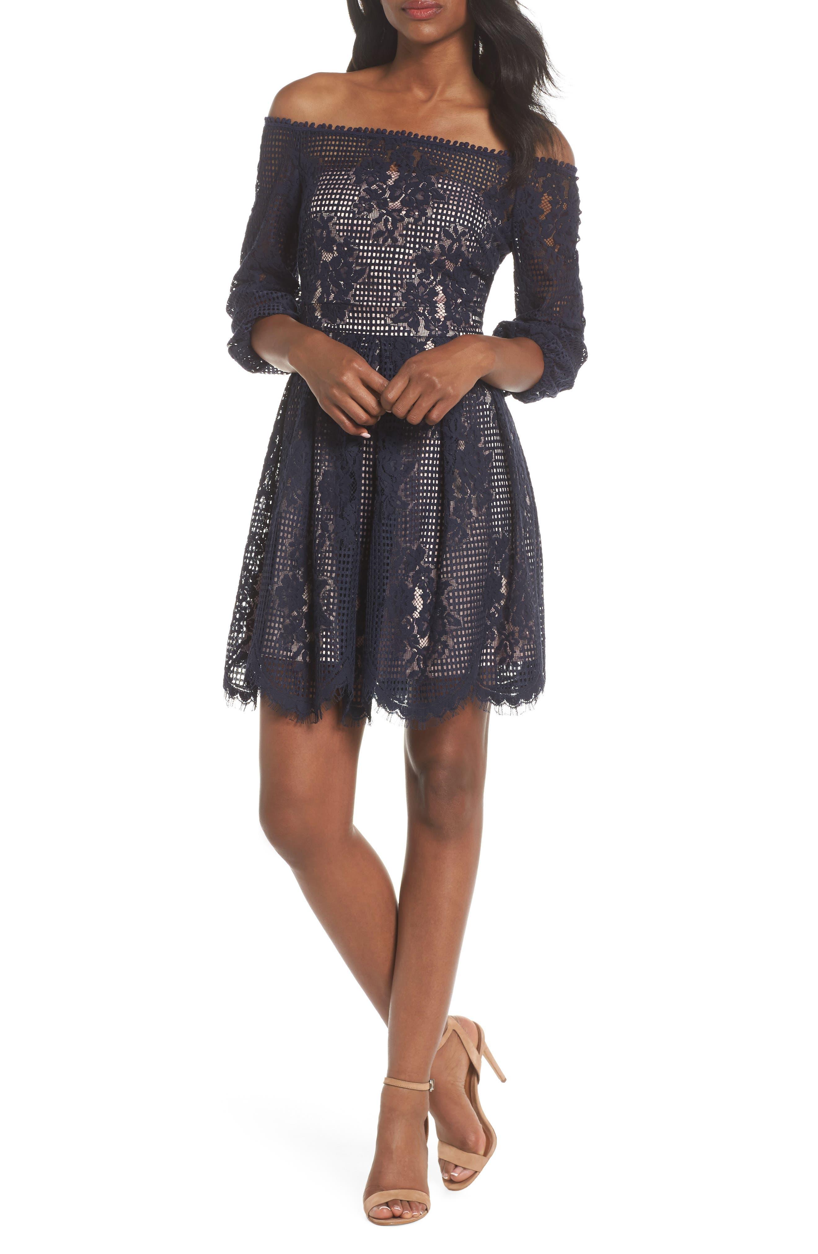 Chelsea28 Floral Lace Off the Shoulder Dress (Regular & Petite)