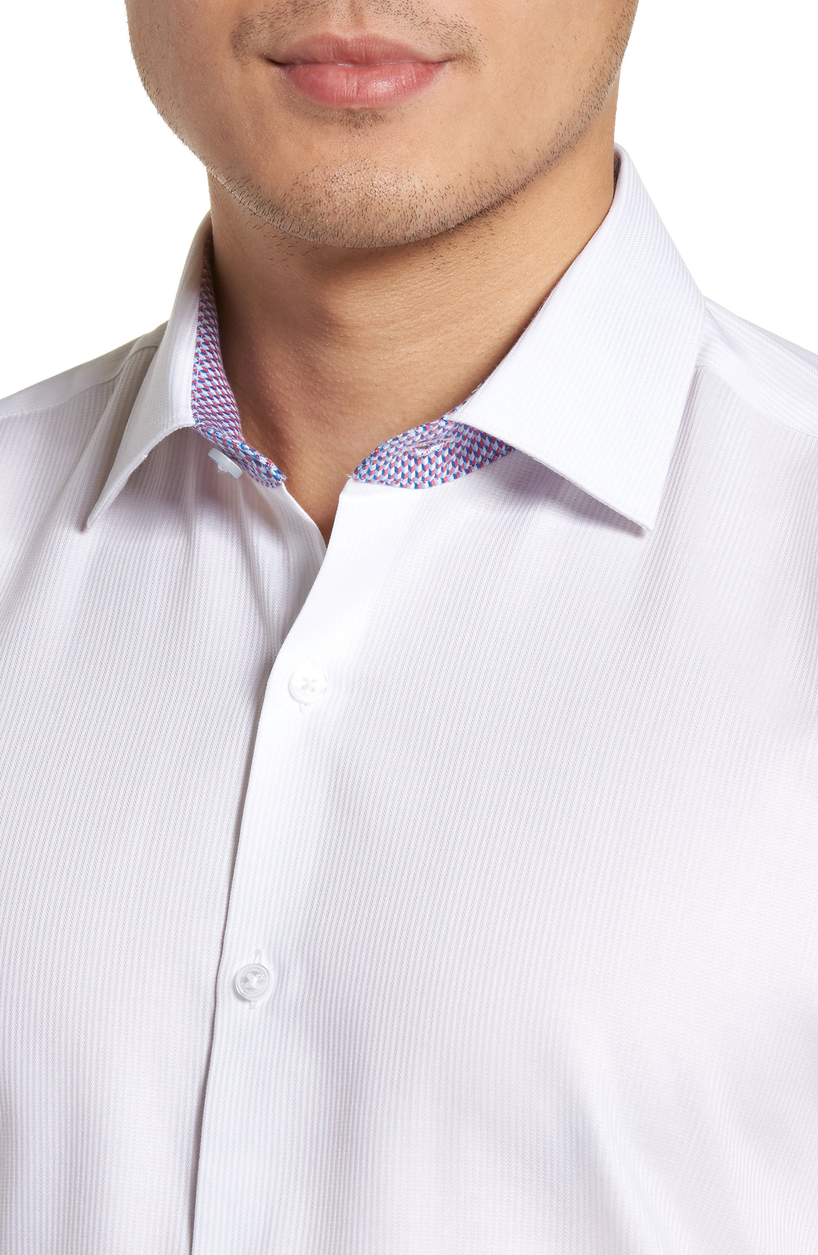 Becker Trim Fit Stripe Dress Shirt,                             Alternate thumbnail 2, color,                             White