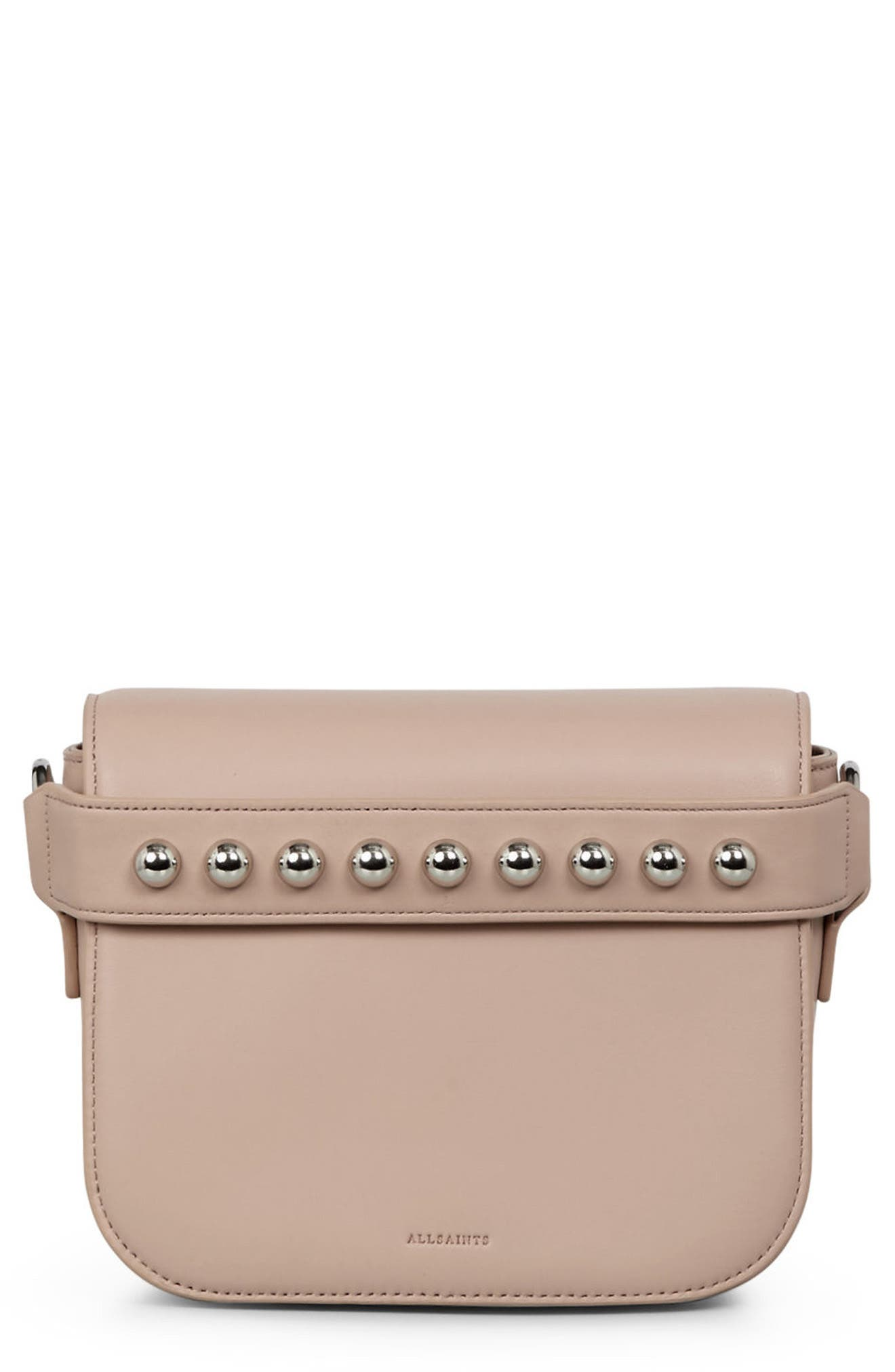 Suzi Studded Leather Clutch,                             Main thumbnail 1, color,                             Natural