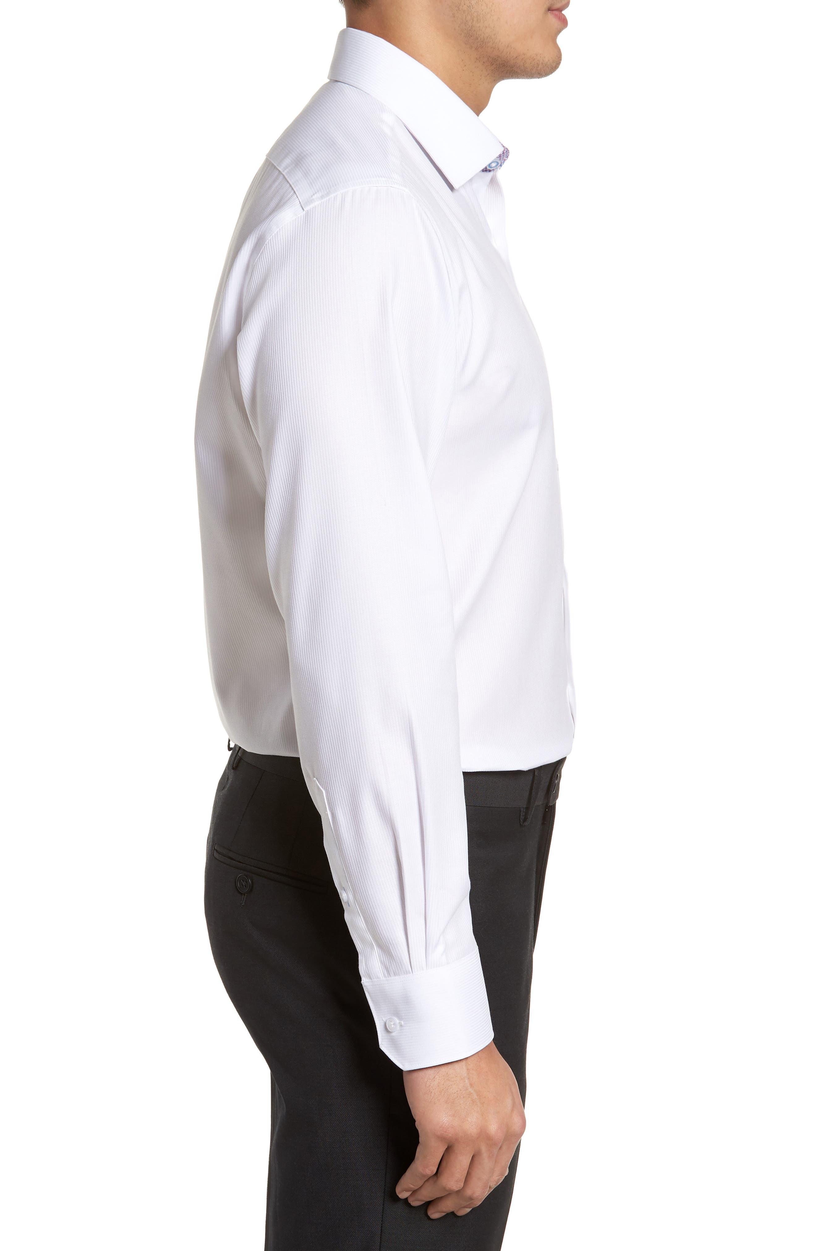 Becker Trim Fit Stripe Dress Shirt,                             Alternate thumbnail 4, color,                             White