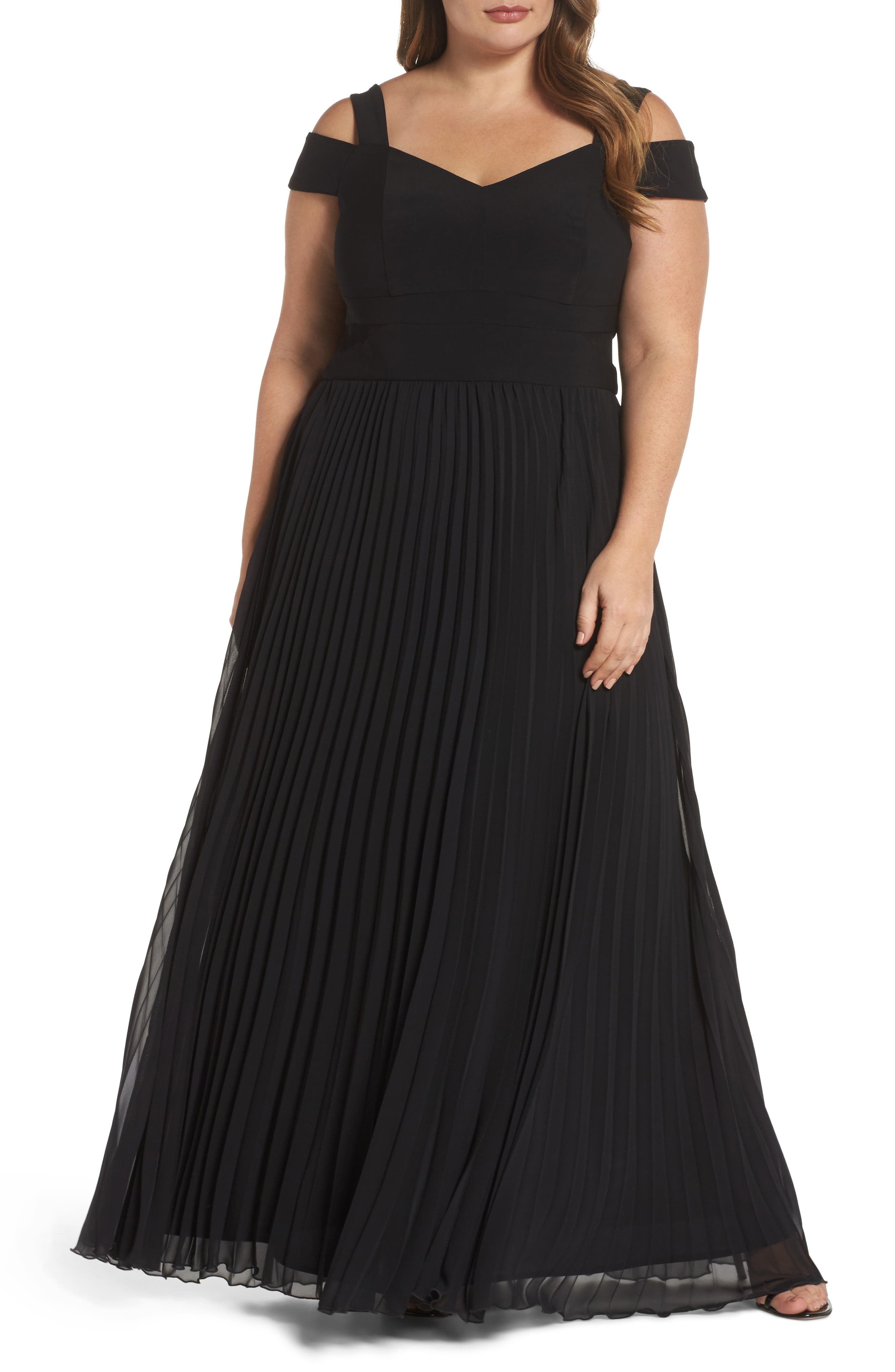 Pleated Cold Shoulder Gown,                             Main thumbnail 1, color,                             Black