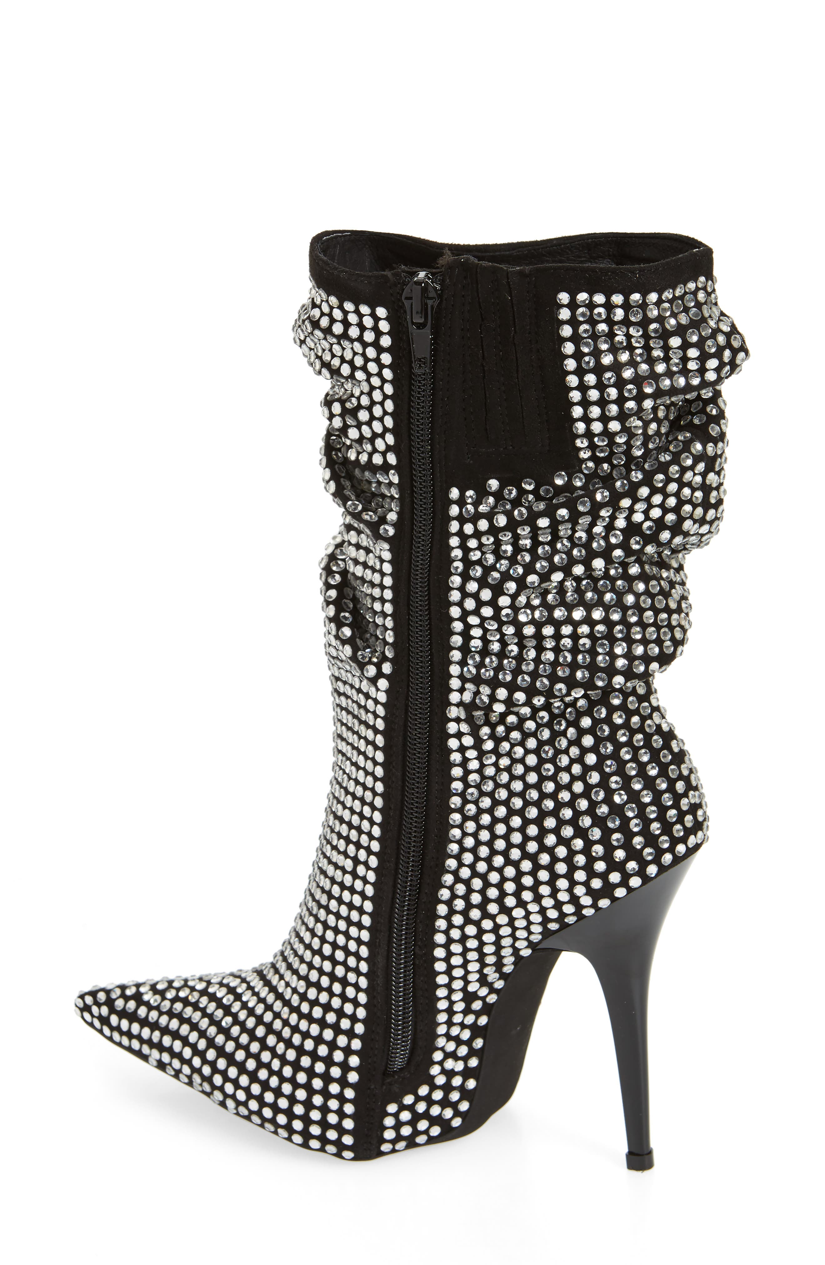 Cry4U Bootie,                             Alternate thumbnail 2, color,                             Black Suede Silver