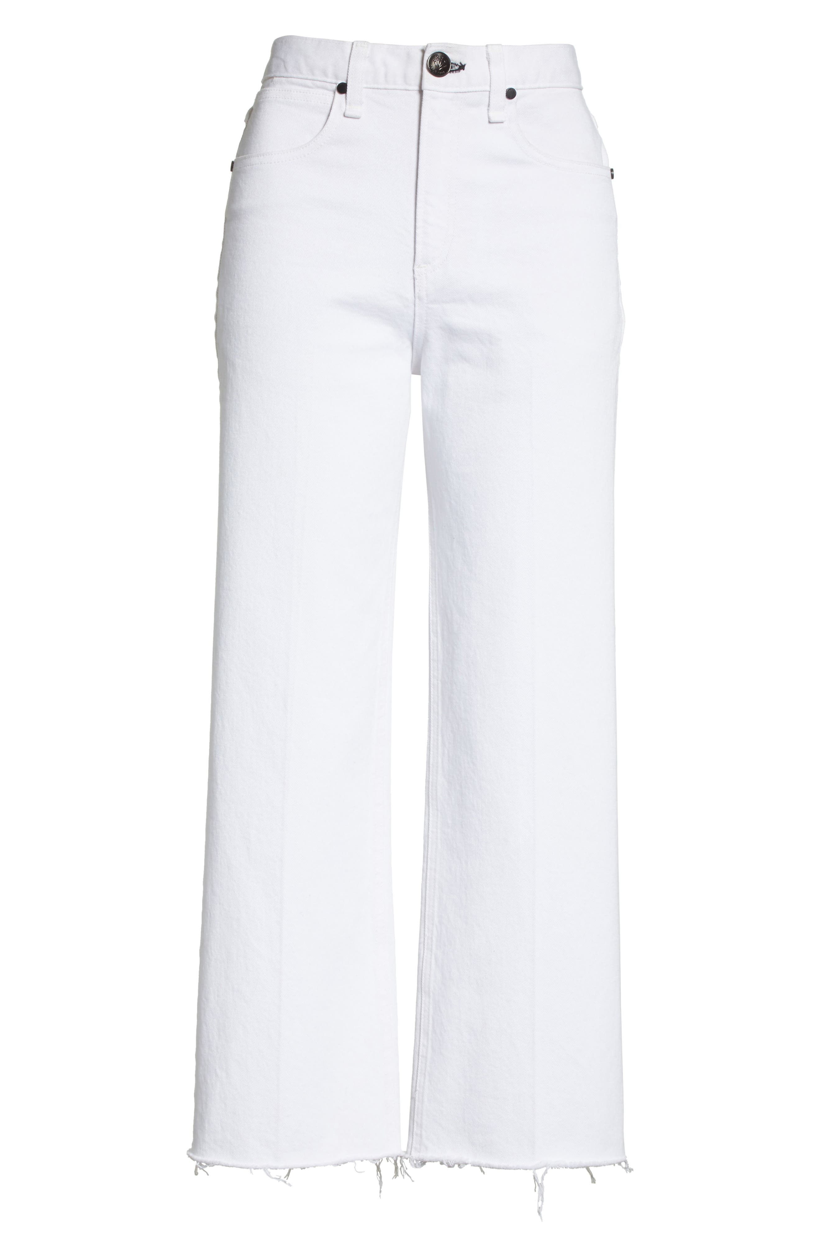 Justine High Waist Ankle Wide Leg Trouser Jeans,                             Alternate thumbnail 6, color,                             White