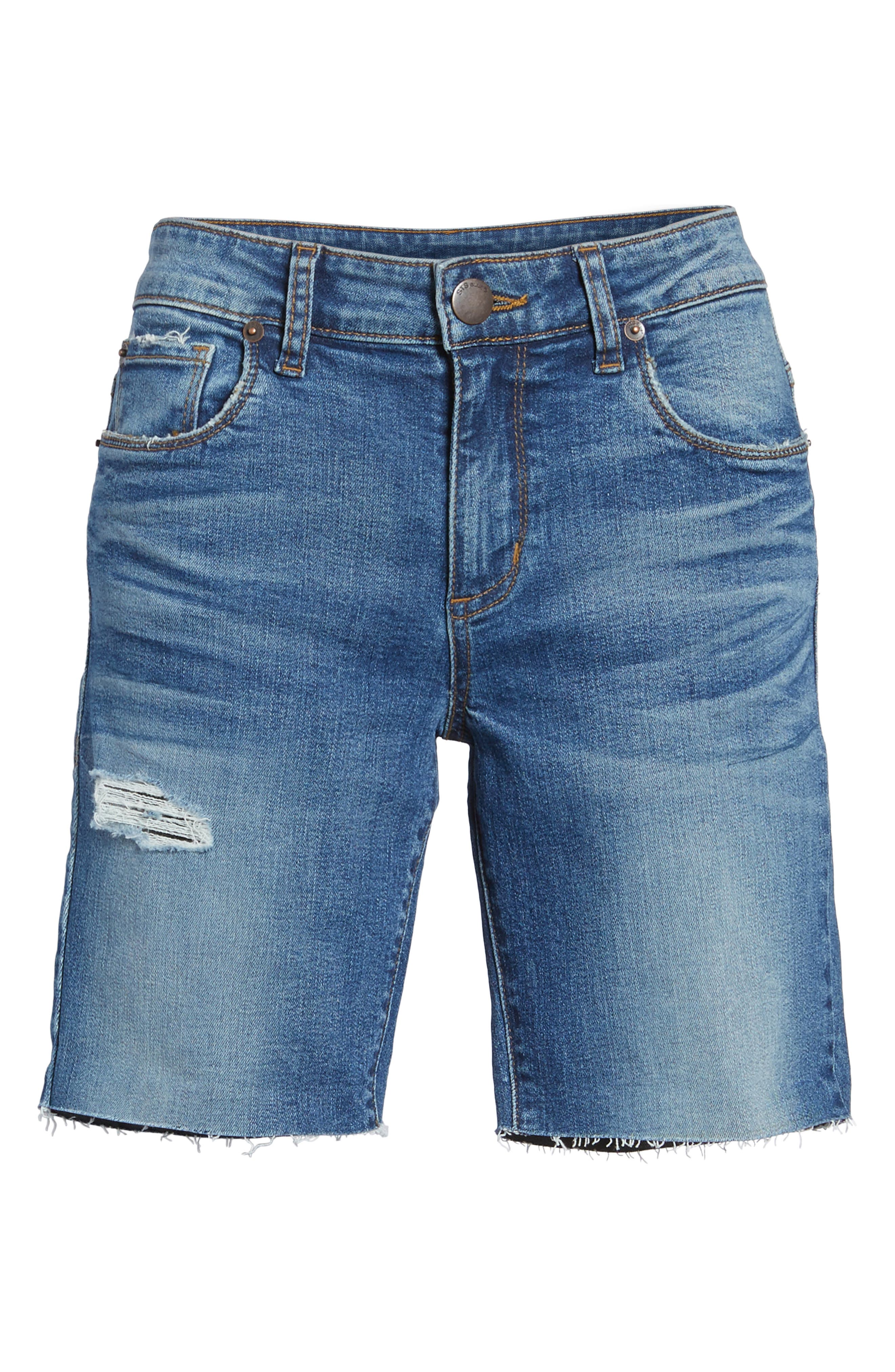 Cuffed Bermuda Denim Shorts,                             Alternate thumbnail 6, color,                             Lilac W/ Med Base