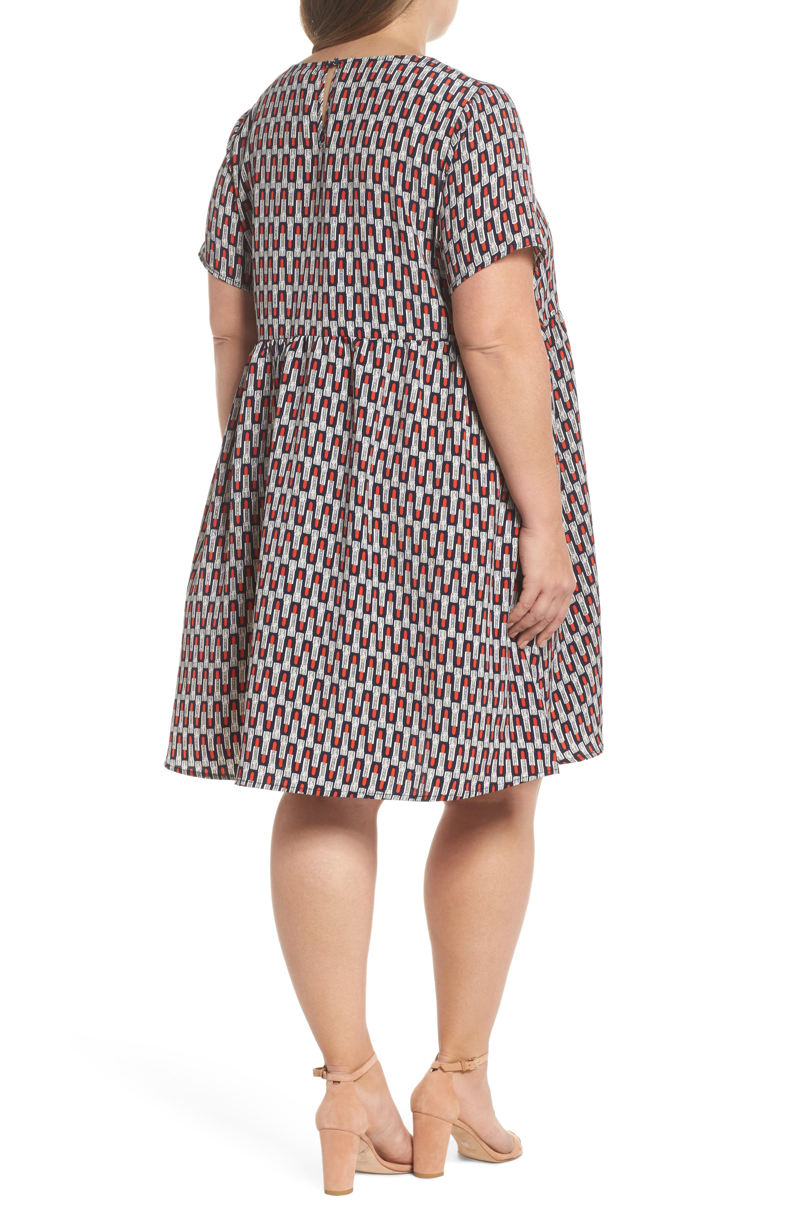 Lipstick Print Fit & Flare Dress,                             Alternate thumbnail 2, color,                             Navy Lipstick
