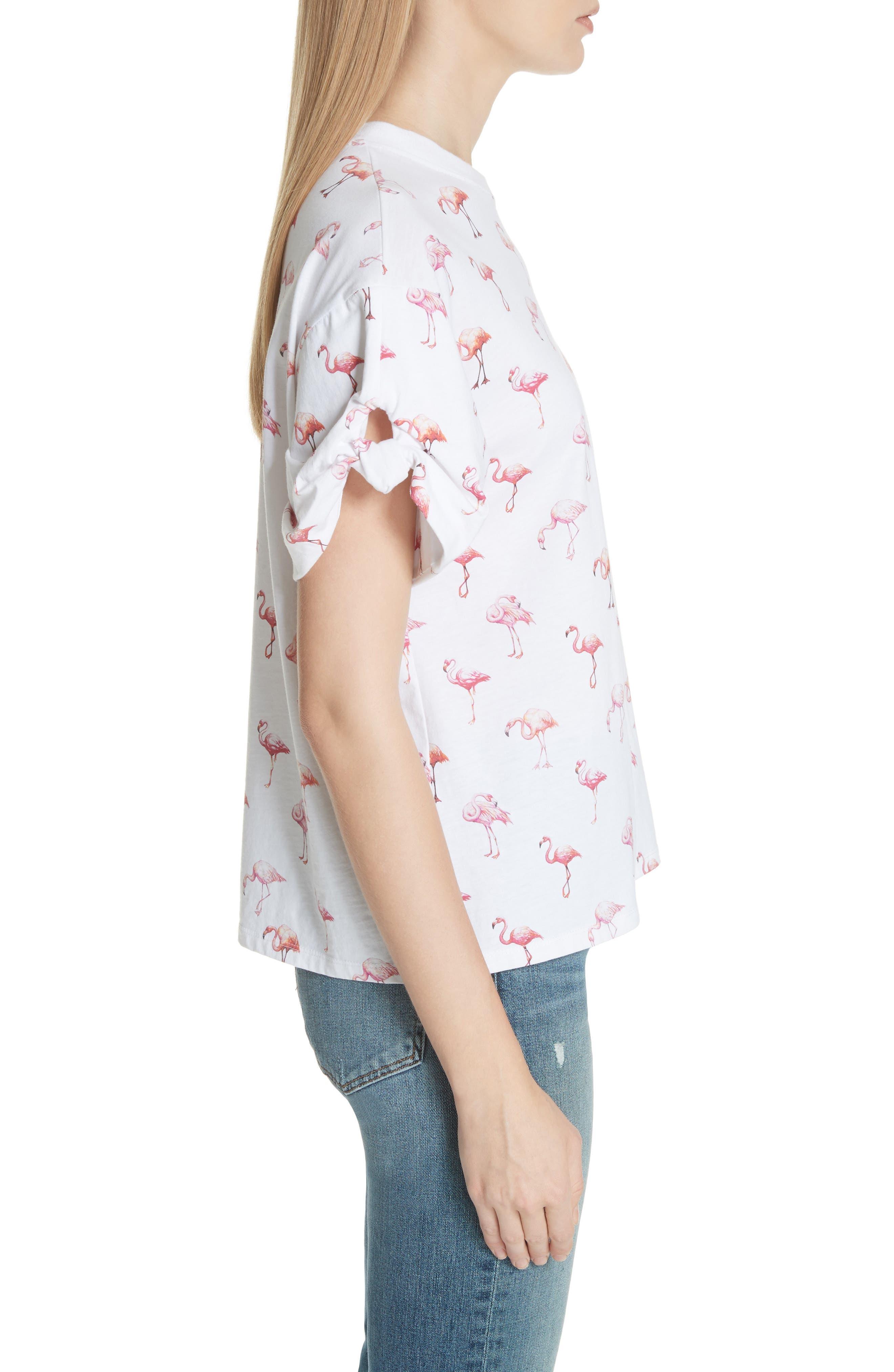 Puff Sleeve Flamingo Print Tee,                             Alternate thumbnail 3, color,                             White Flamingo