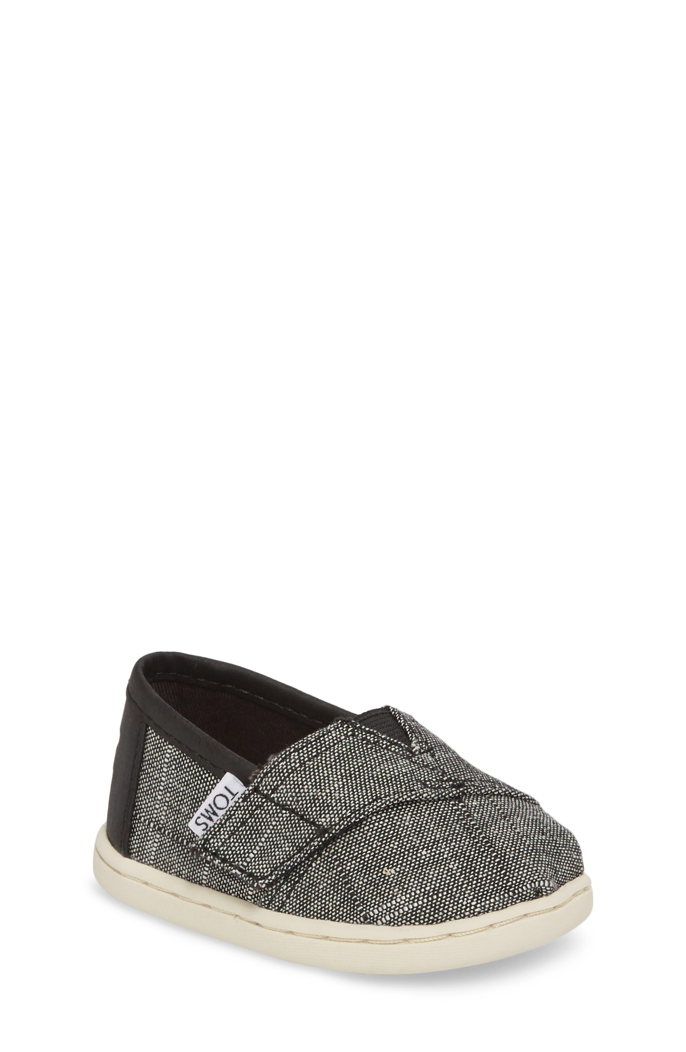 Tiny Classic Alpargata Slip-On,                         Main,                         color, Black Textured Chambray