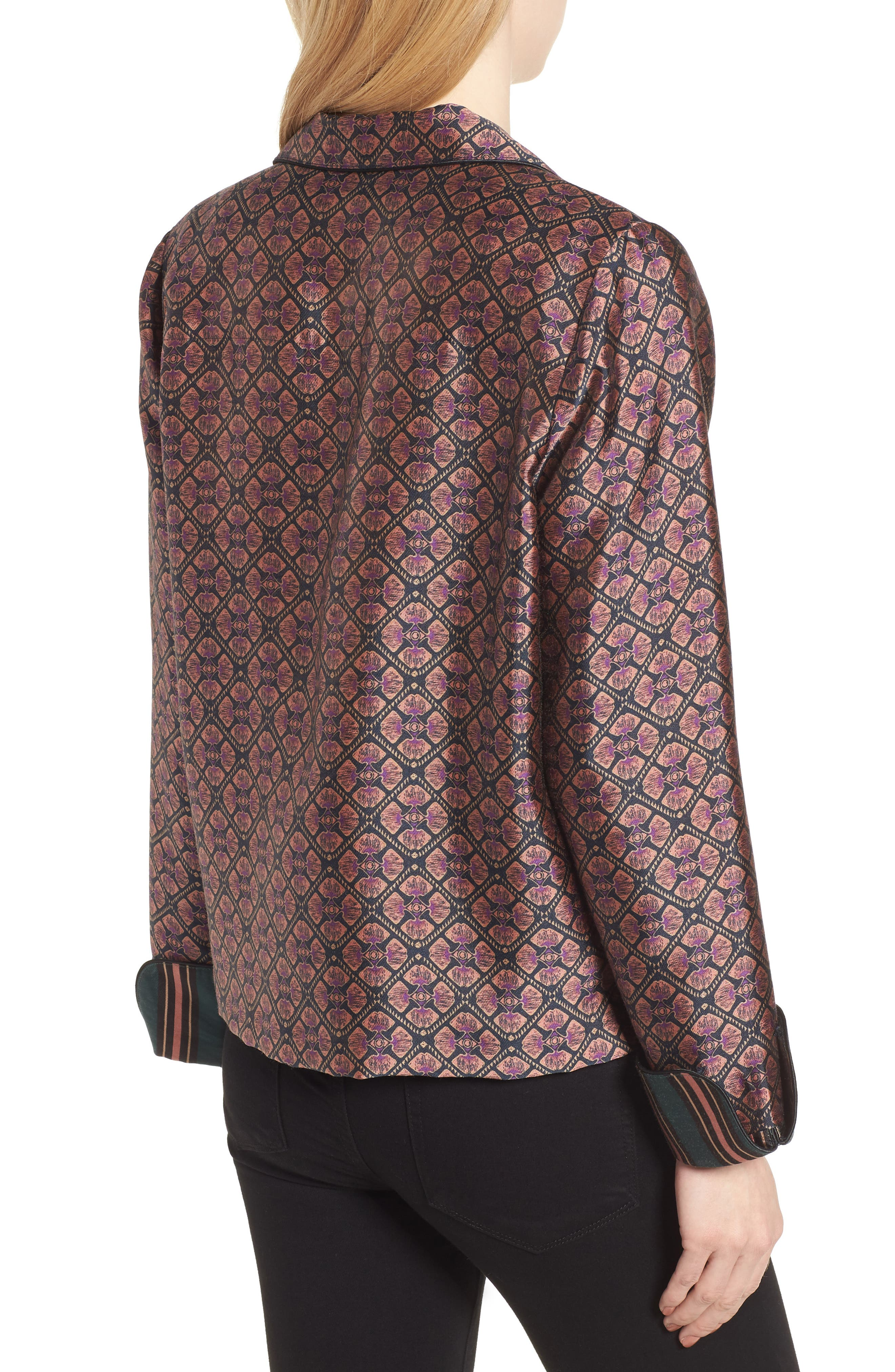 Double Breasted Print Pajama Blazer,                             Alternate thumbnail 3, color,                             Combo B