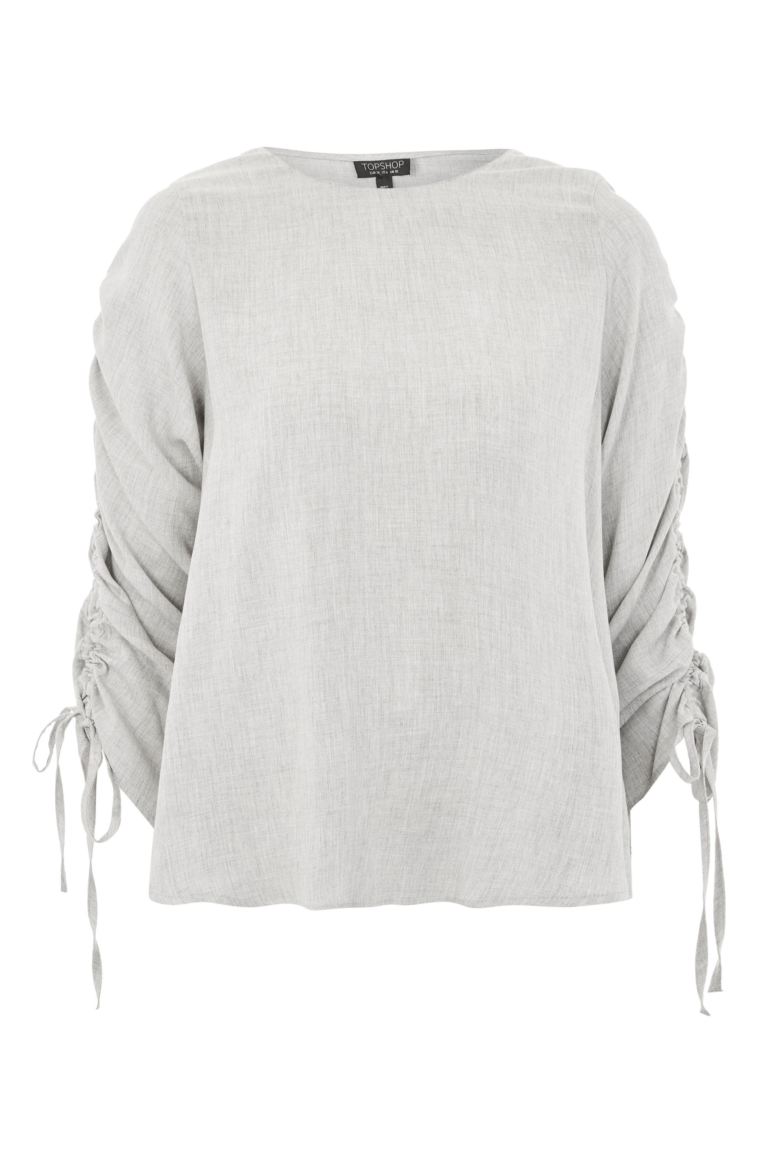 Ruched Sleeve Shirt,                             Alternate thumbnail 4, color,                             Grey