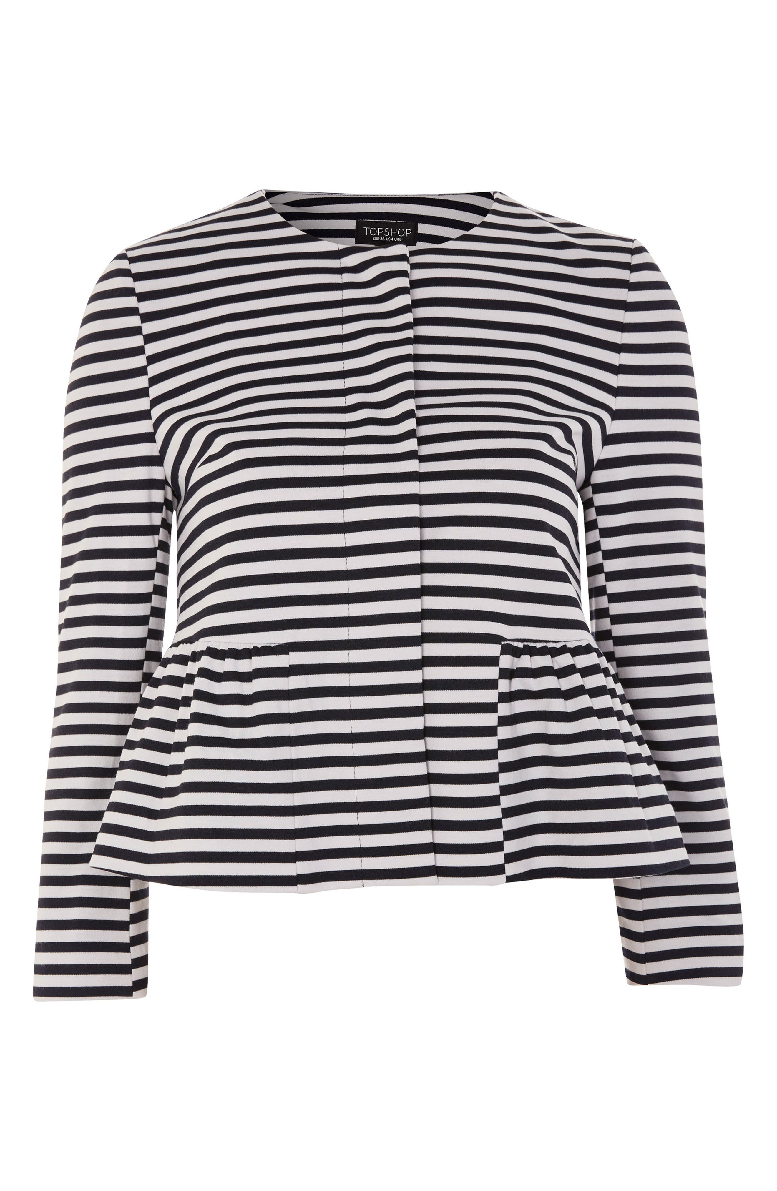 Stripe Crop Jersey Jacket,                             Alternate thumbnail 3, color,                             Navy Blue Multi