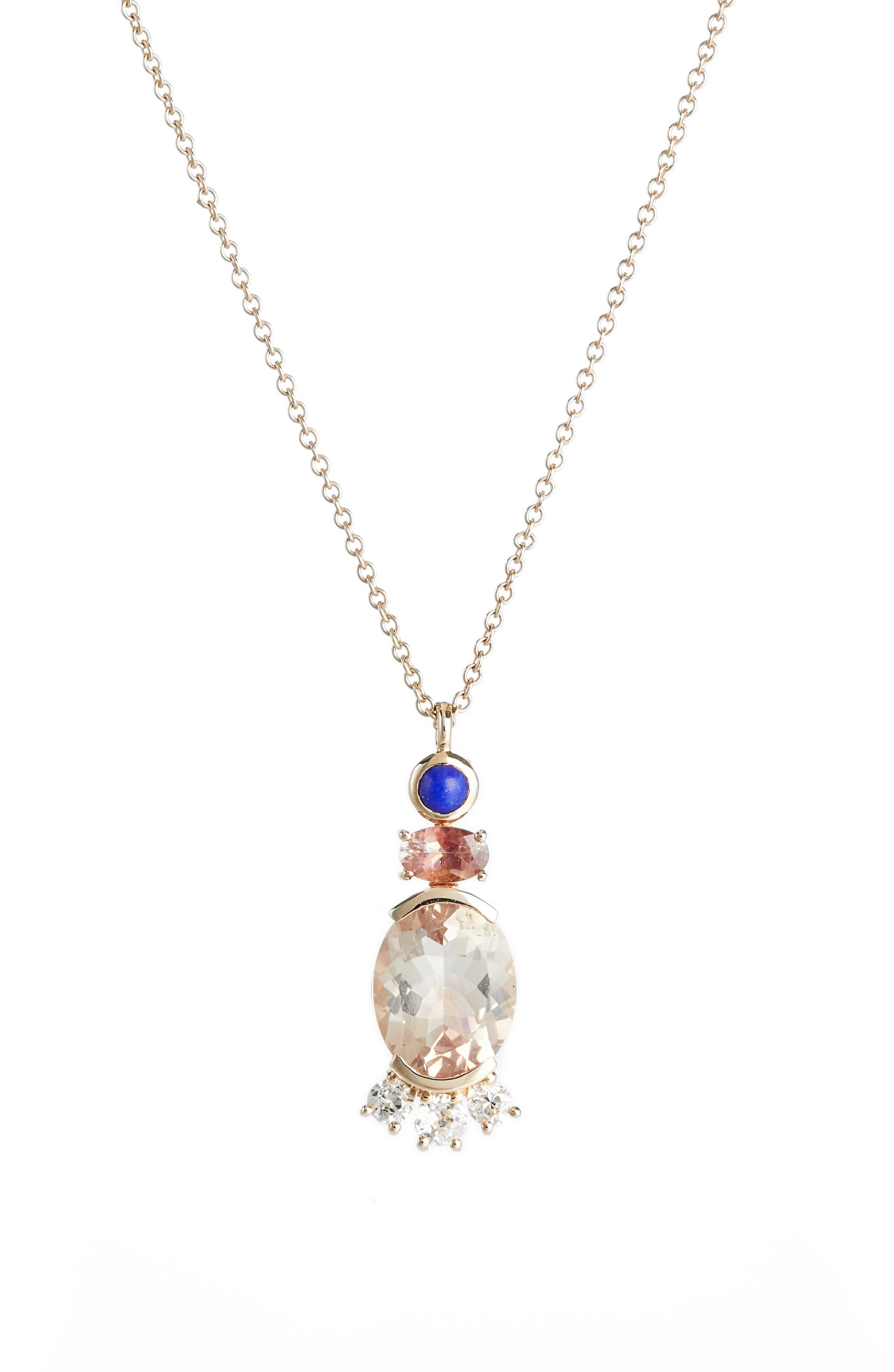 Mociun Sunstone, Lapis & Diamond Pendant Necklace