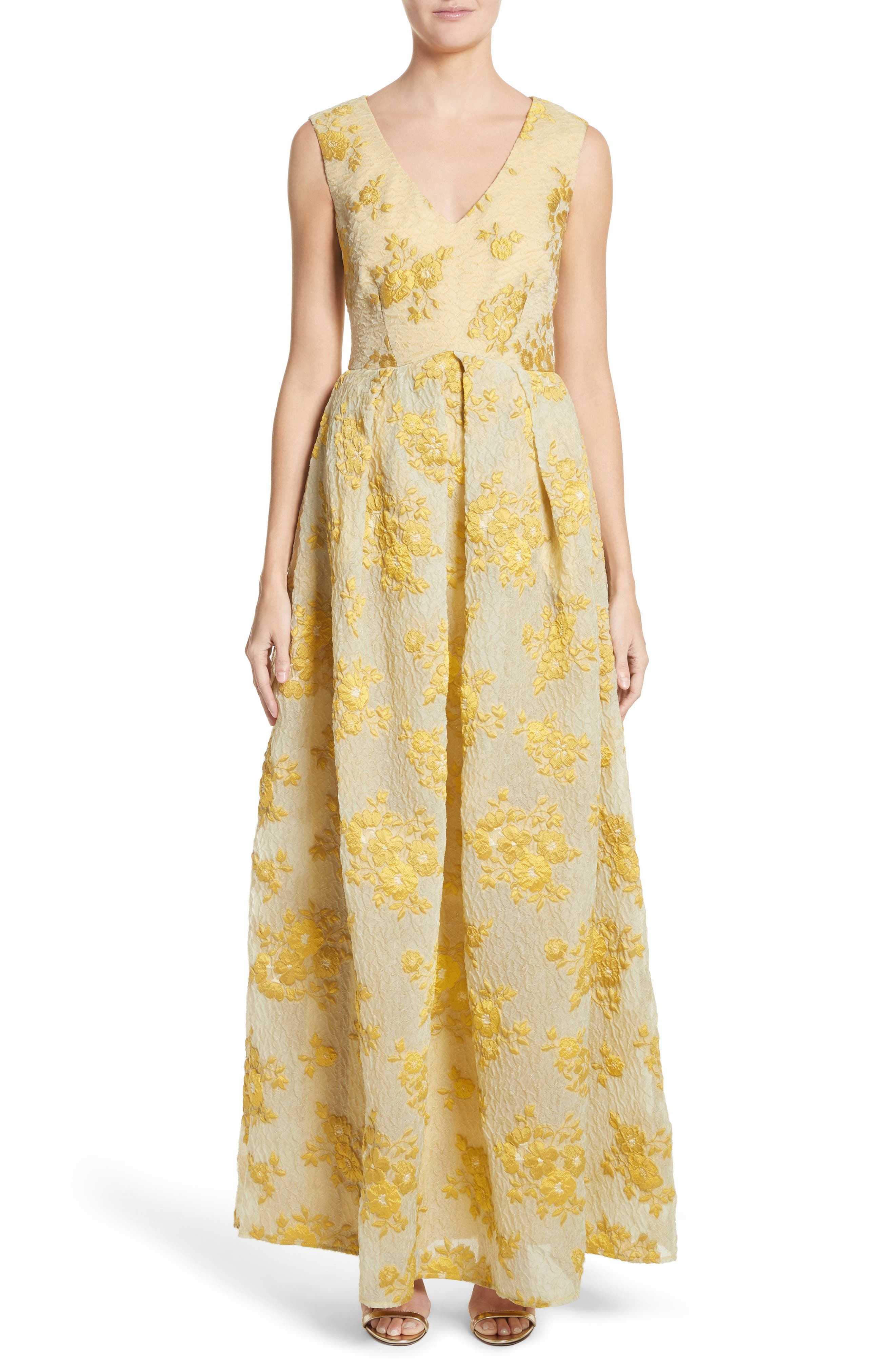Malene Oddershede Bach Fil Coupe Floral Jacquard Gown