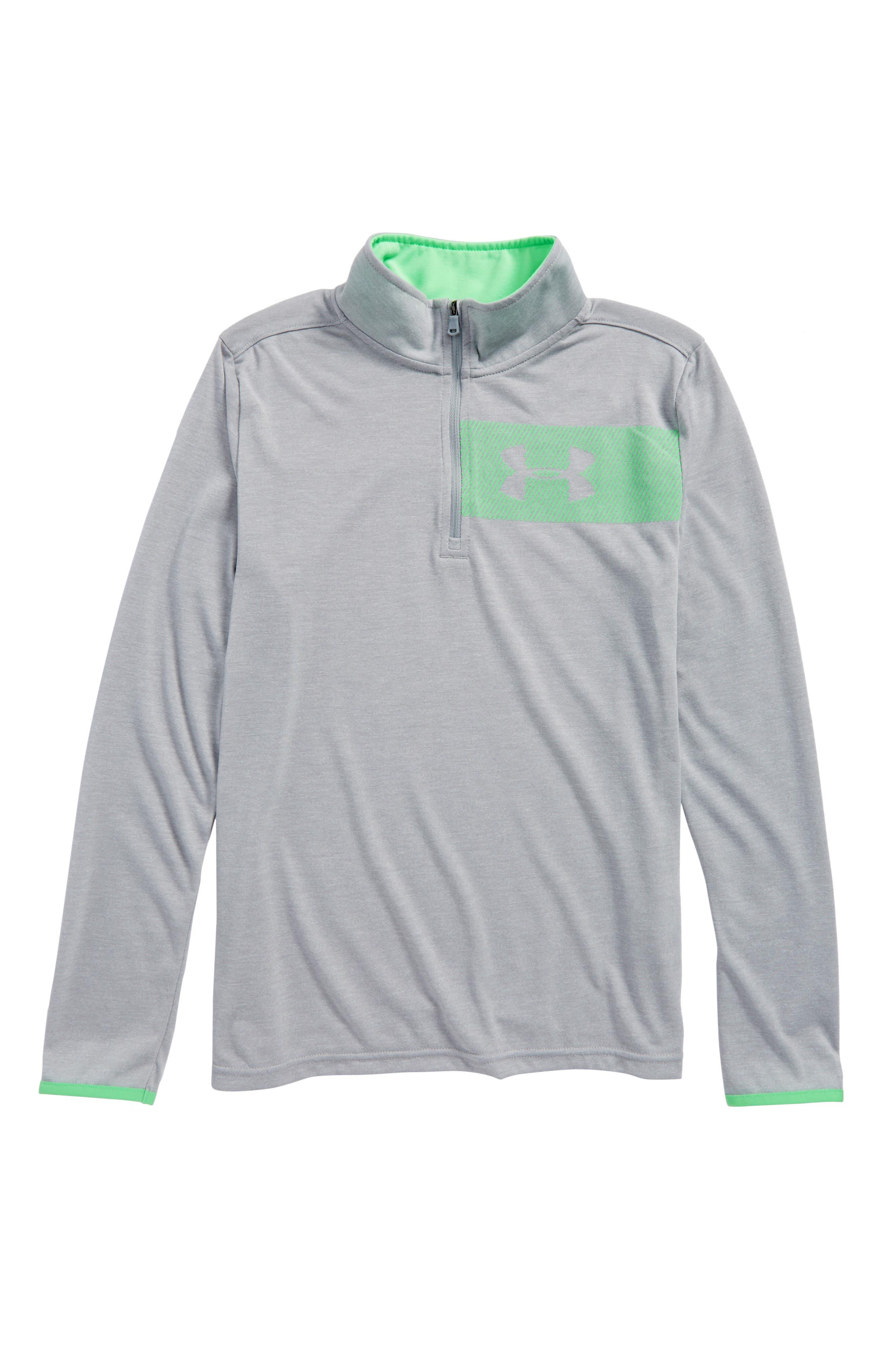 Threadborne HeatGear<sup>®</sup> Quarter Zip Pullover,                         Main,                         color, Overcast Gray Light Heather