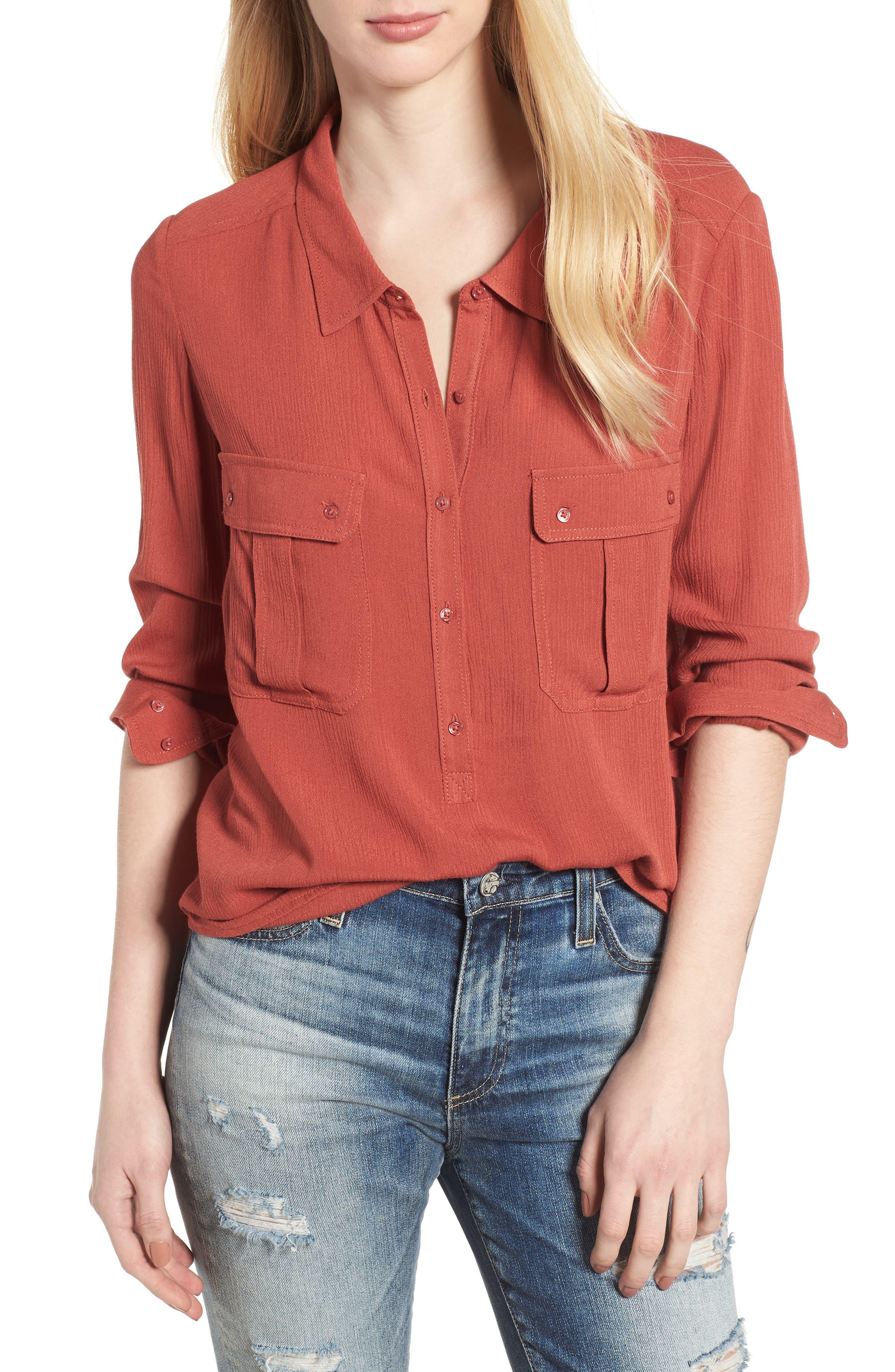Nevada Cotton Henley Shirt,                         Main,                         color, Firebrick