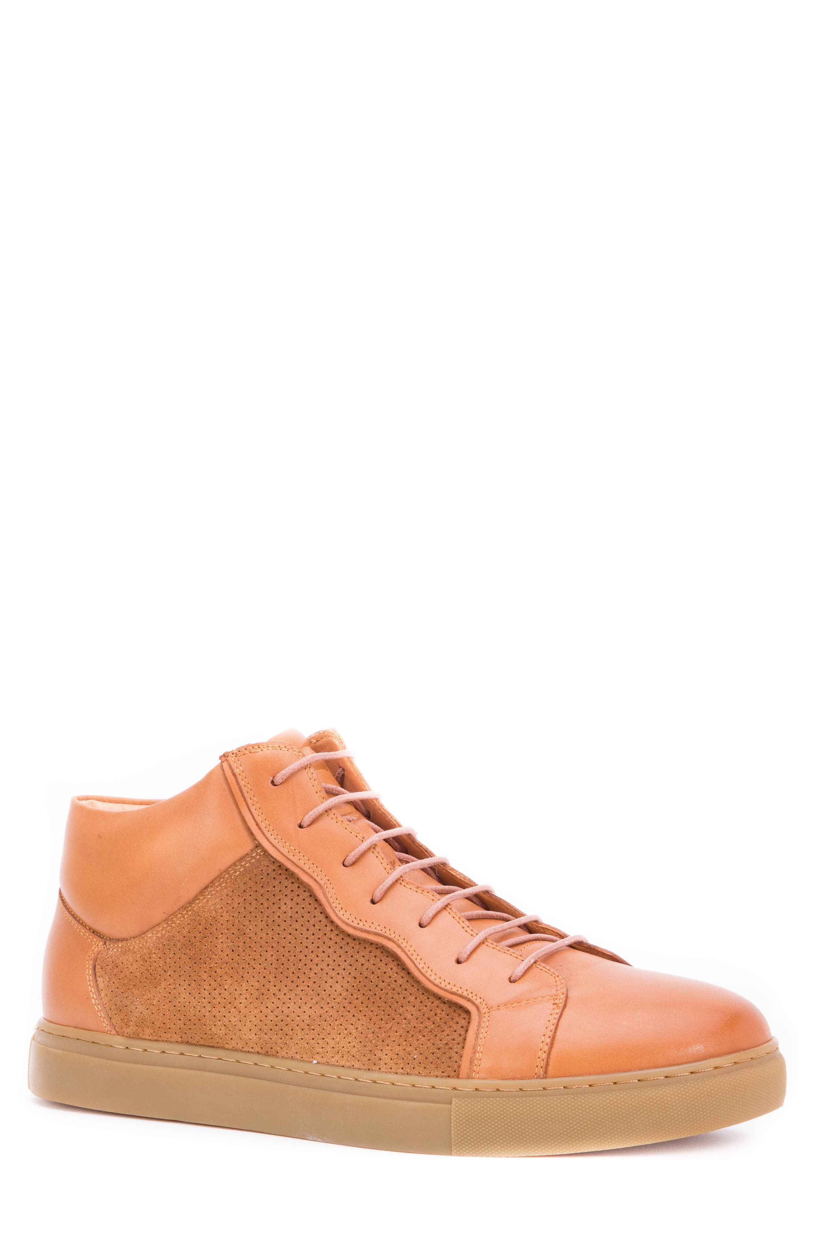Twist Perforated High Top Sneaker,                             Main thumbnail 1, color,                             Cognac Leather/ Suede