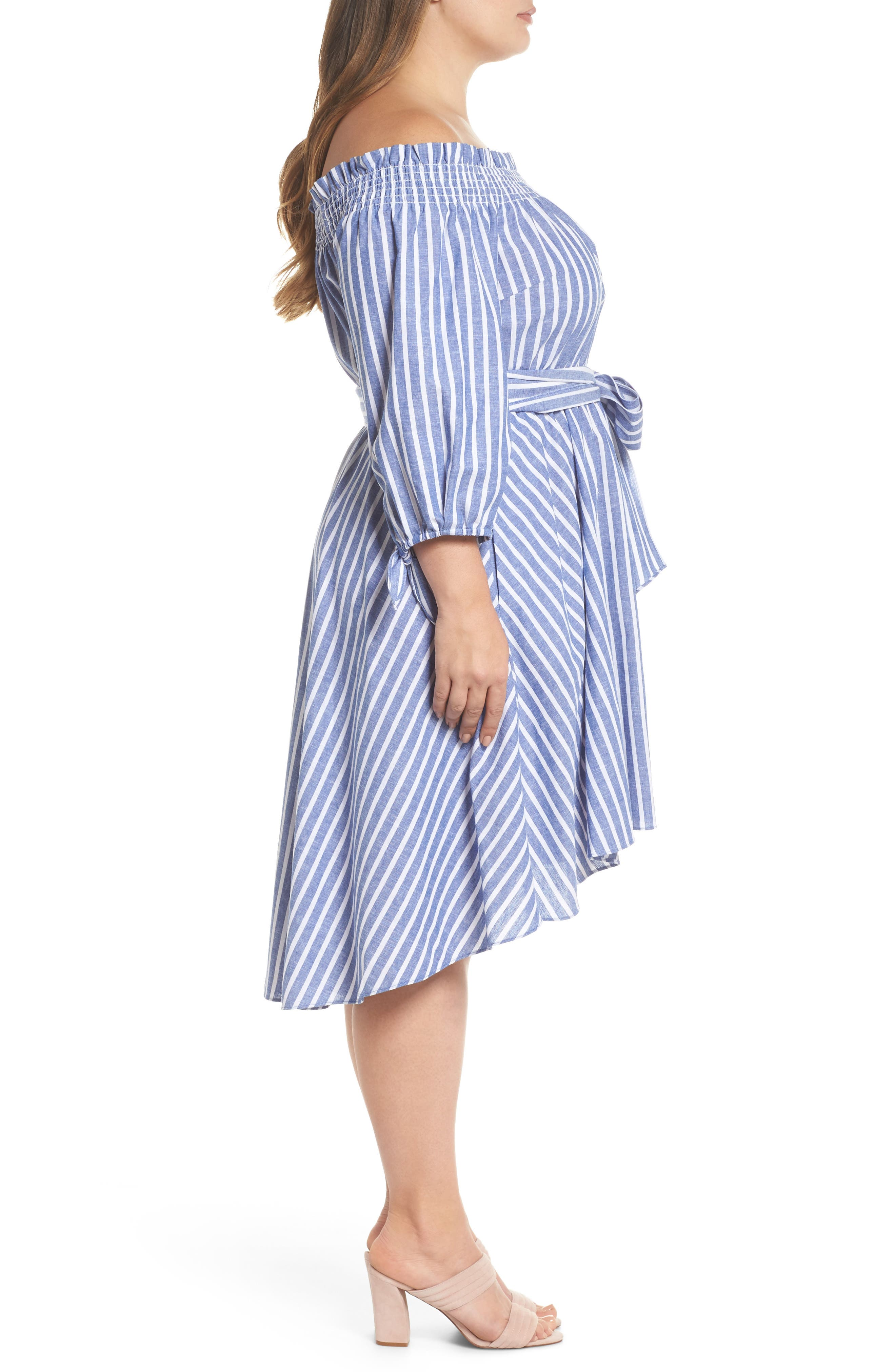 Off the Shoulder Dress,                             Alternate thumbnail 3, color,                             Navy/ Ivory