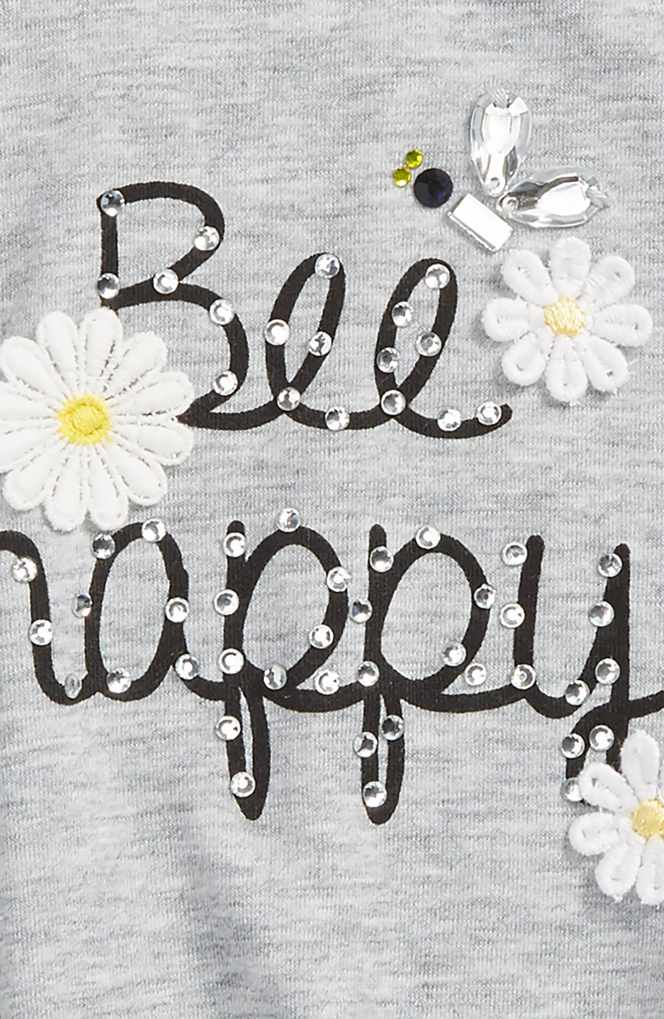 Be Happy Embellished Tee,                             Alternate thumbnail 2, color,                             H Grey