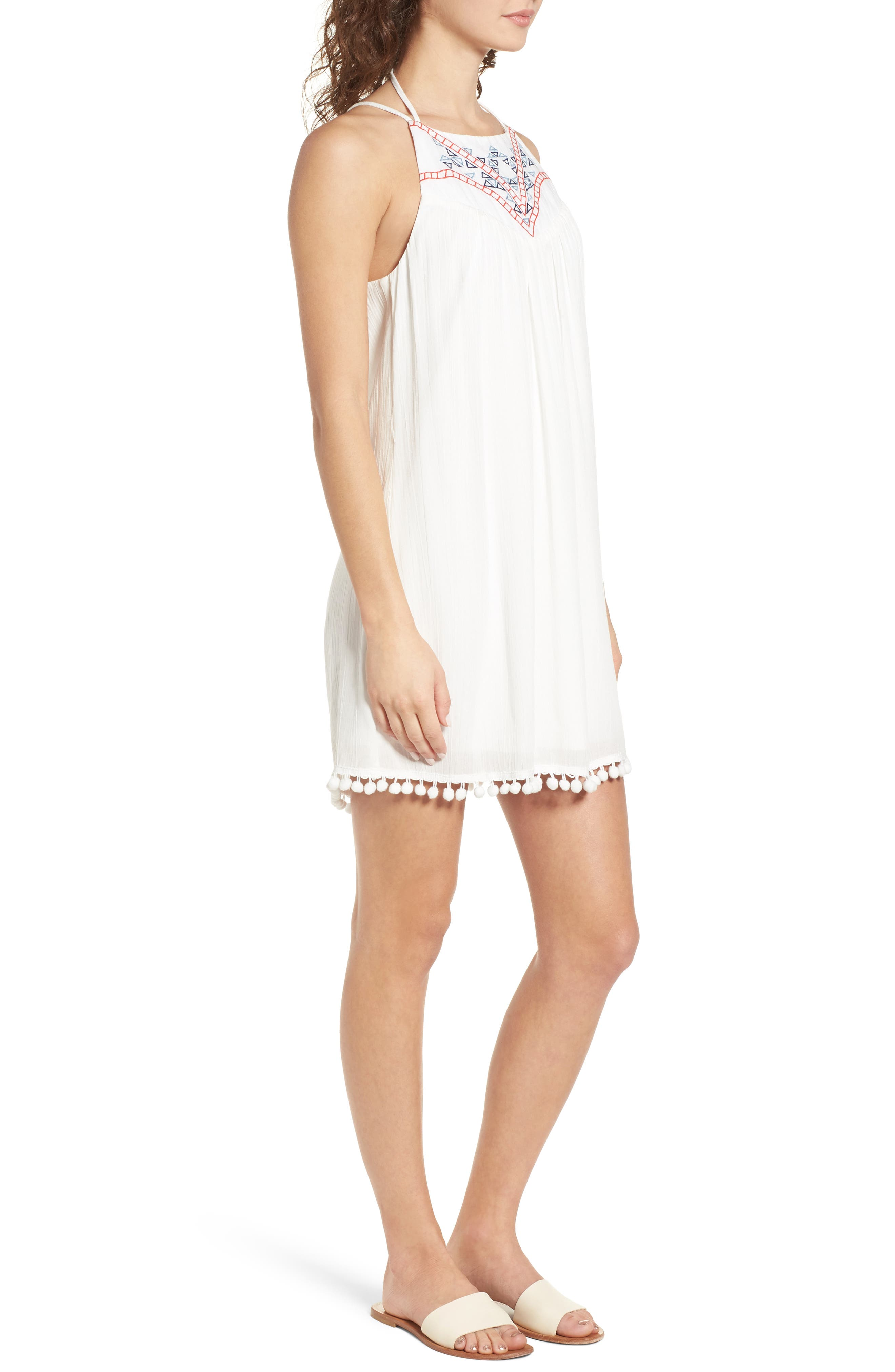 Embroidered Swing Dress,                             Alternate thumbnail 3, color,                             Milky White