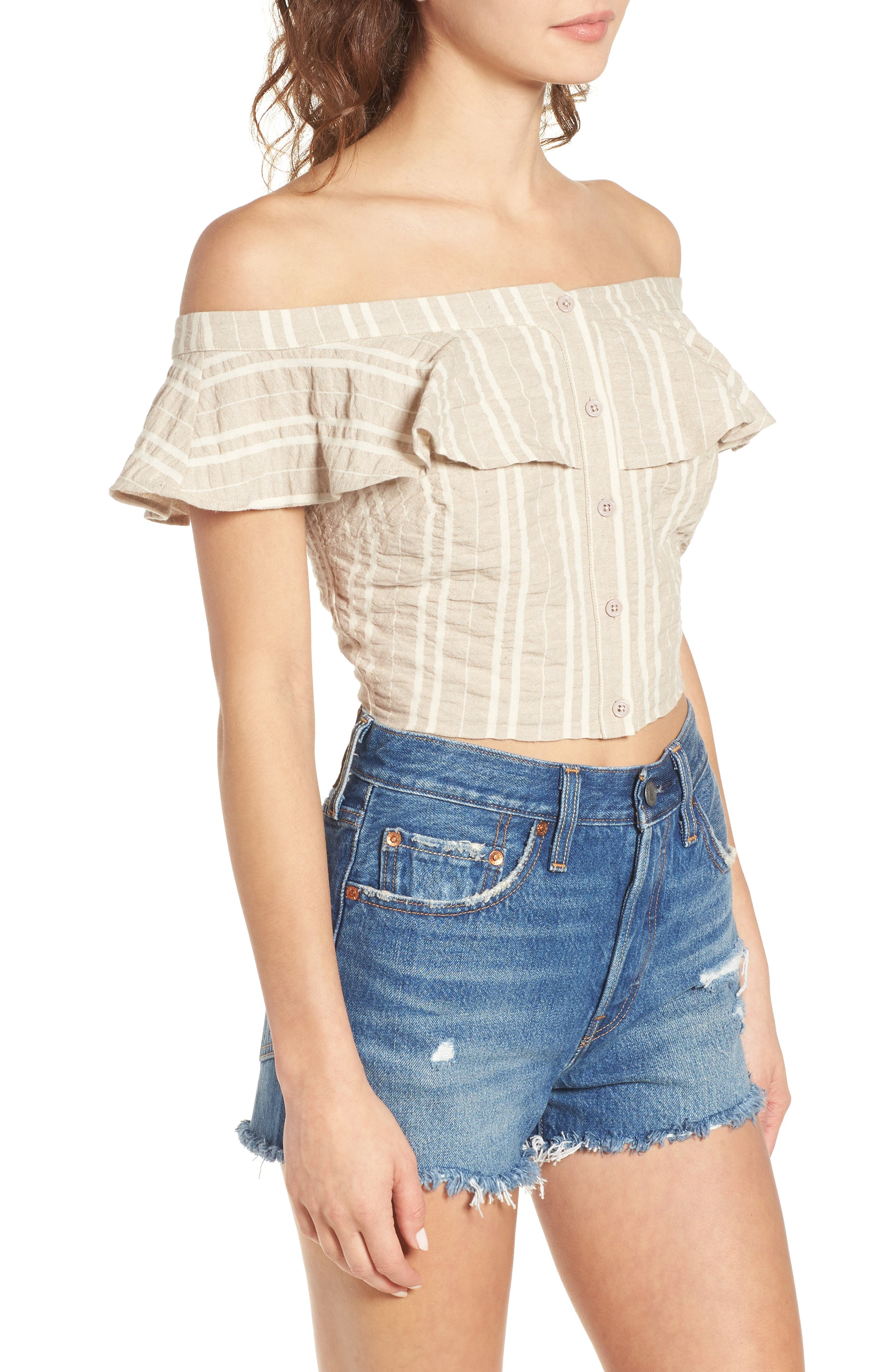 Stella Ruffle Off the Shoulder Crop Top,                             Alternate thumbnail 7, color,                             Creme