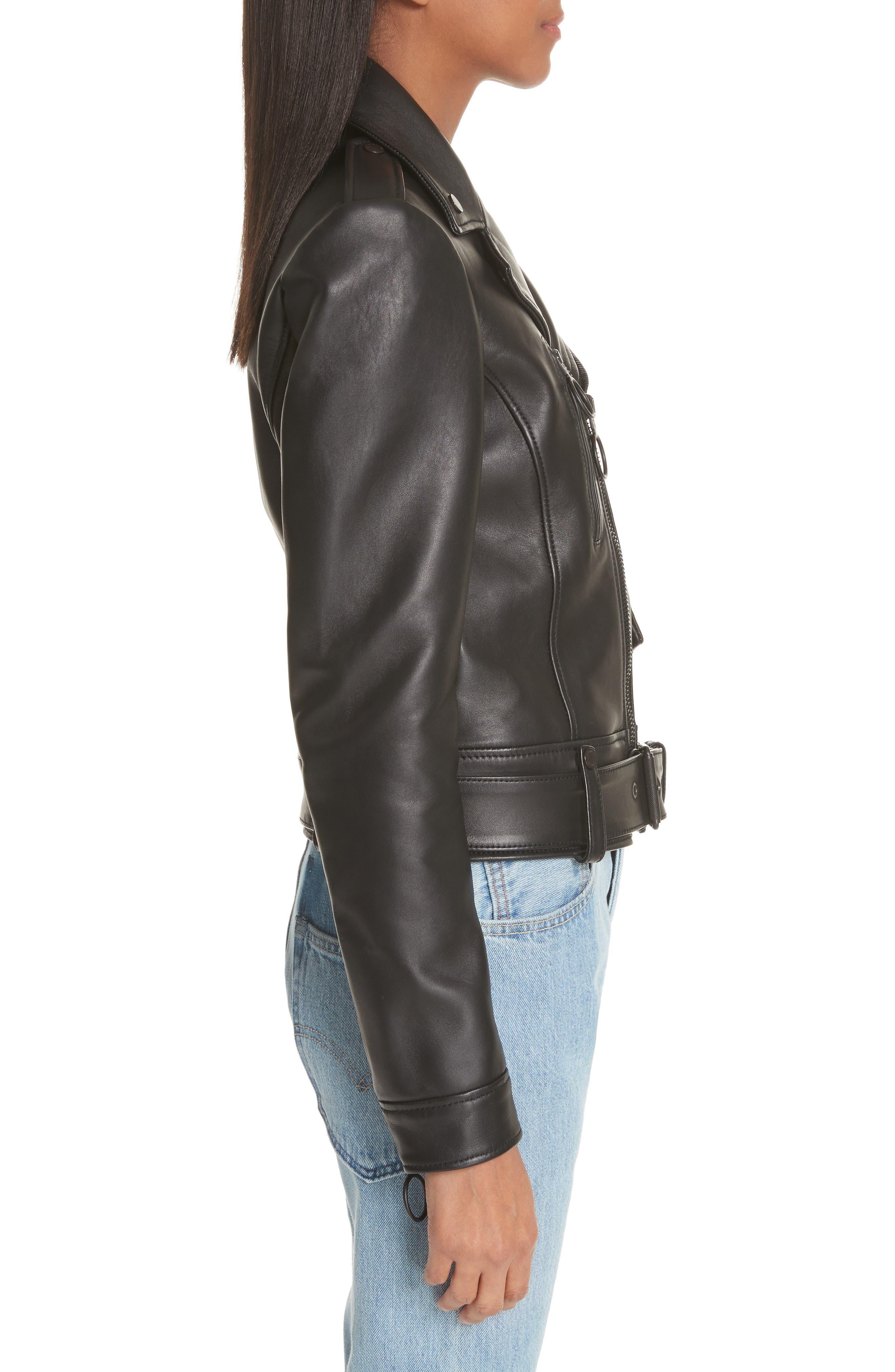 Leather Biker Jacket,                             Alternate thumbnail 3, color,                             Black/ White