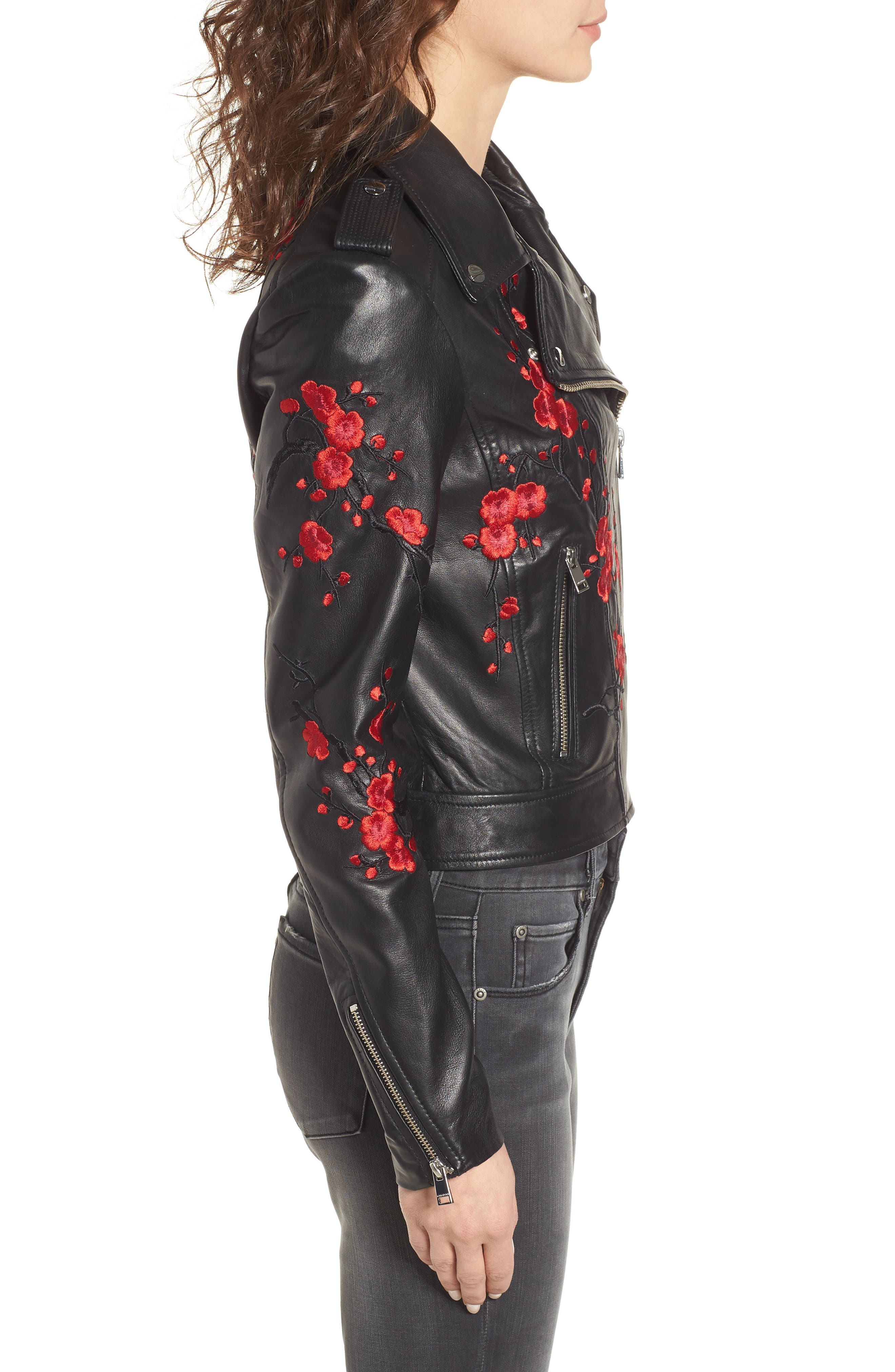 Embroidered Leather Moto Jacket,                             Alternate thumbnail 4, color,                             Black With Red Embroidery