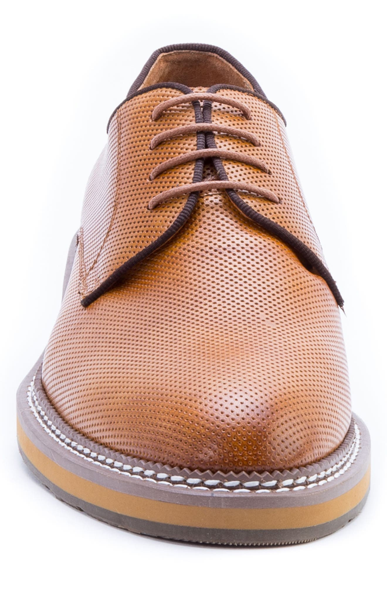 Monticello Perforated Plain Toe Derby,                             Alternate thumbnail 4, color,                             Cognac Leather