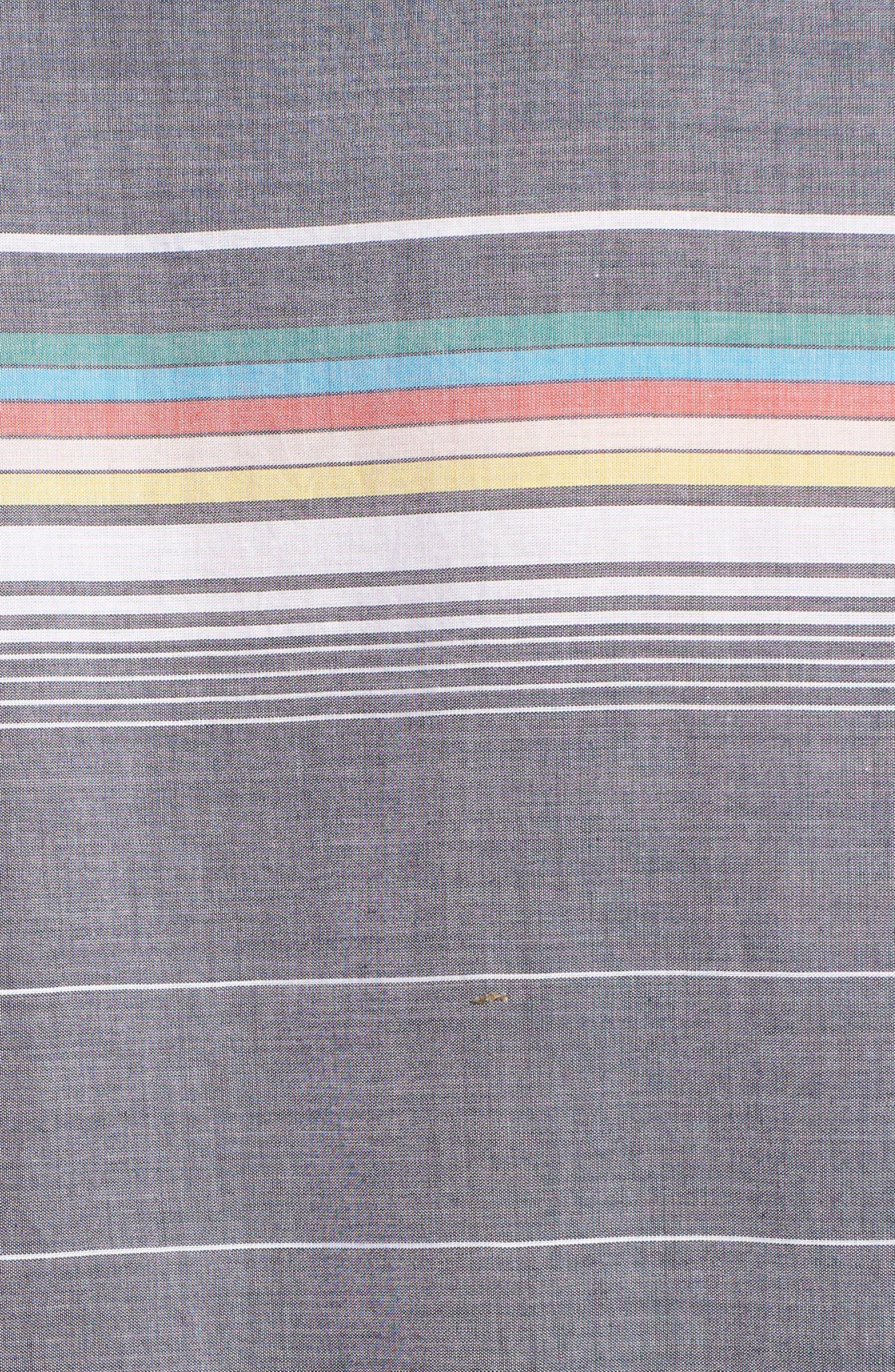 Engineered Stripe Woven Shirt,                             Alternate thumbnail 5, color,                             Dark Sapphire