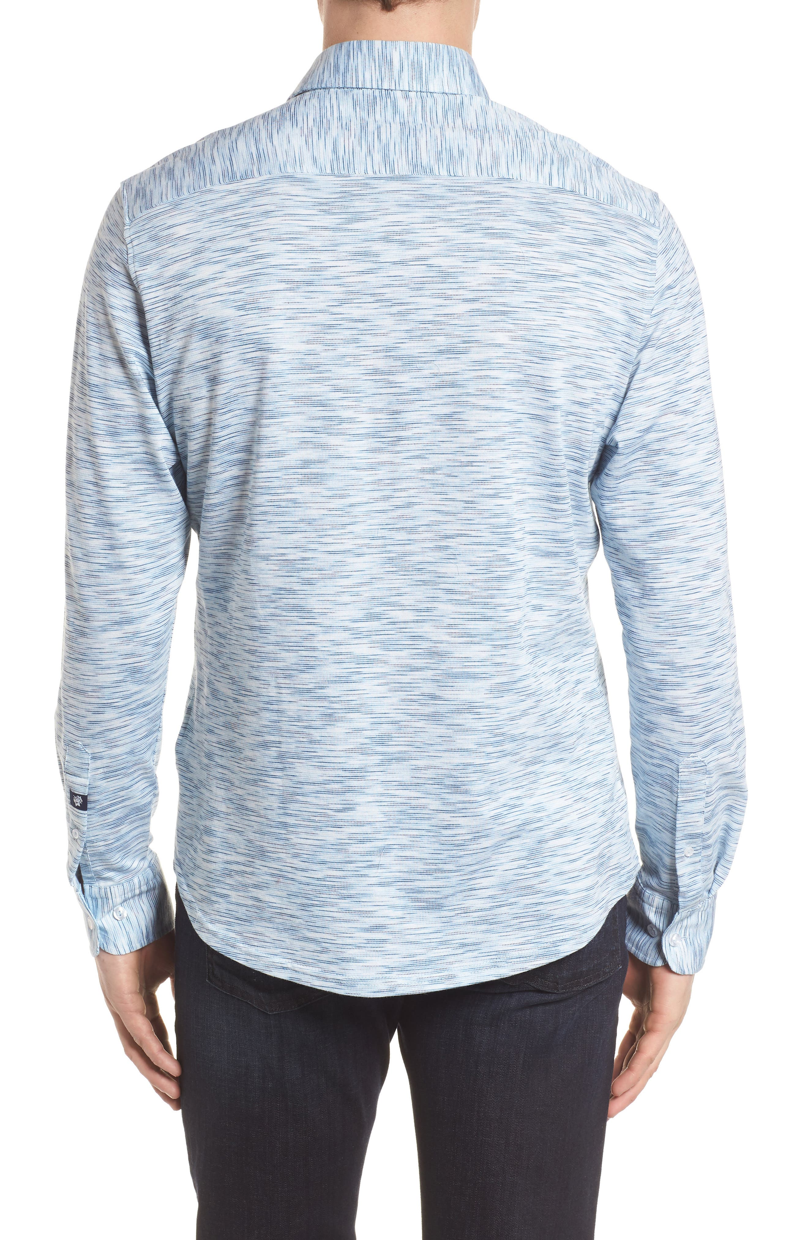 Contemporary Fit Print Sport Shirt,                             Alternate thumbnail 2, color,                             Blue