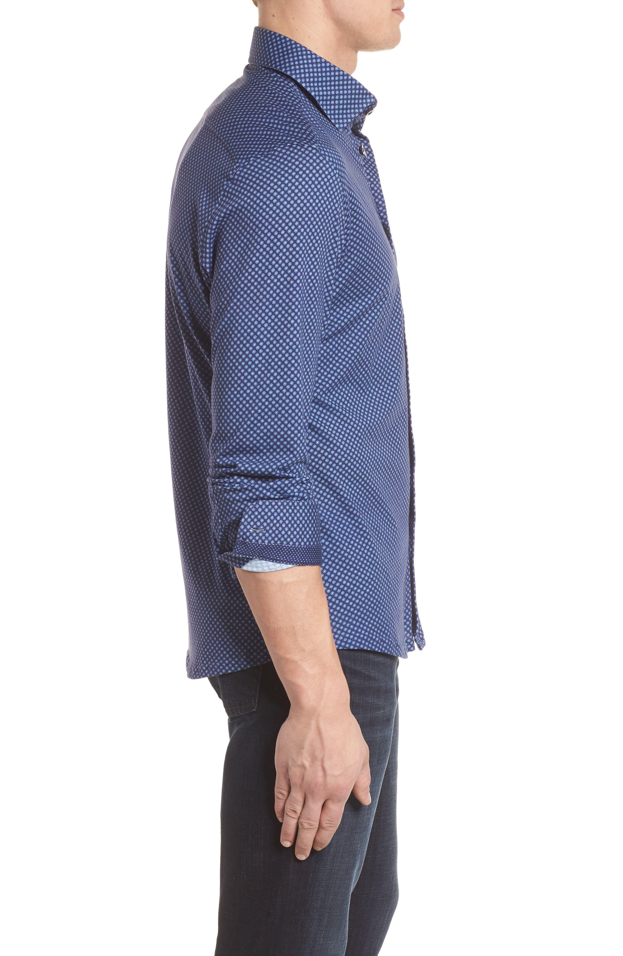 Floral Geo Print Knit Sport Shirt,                             Alternate thumbnail 3, color,                             Navy
