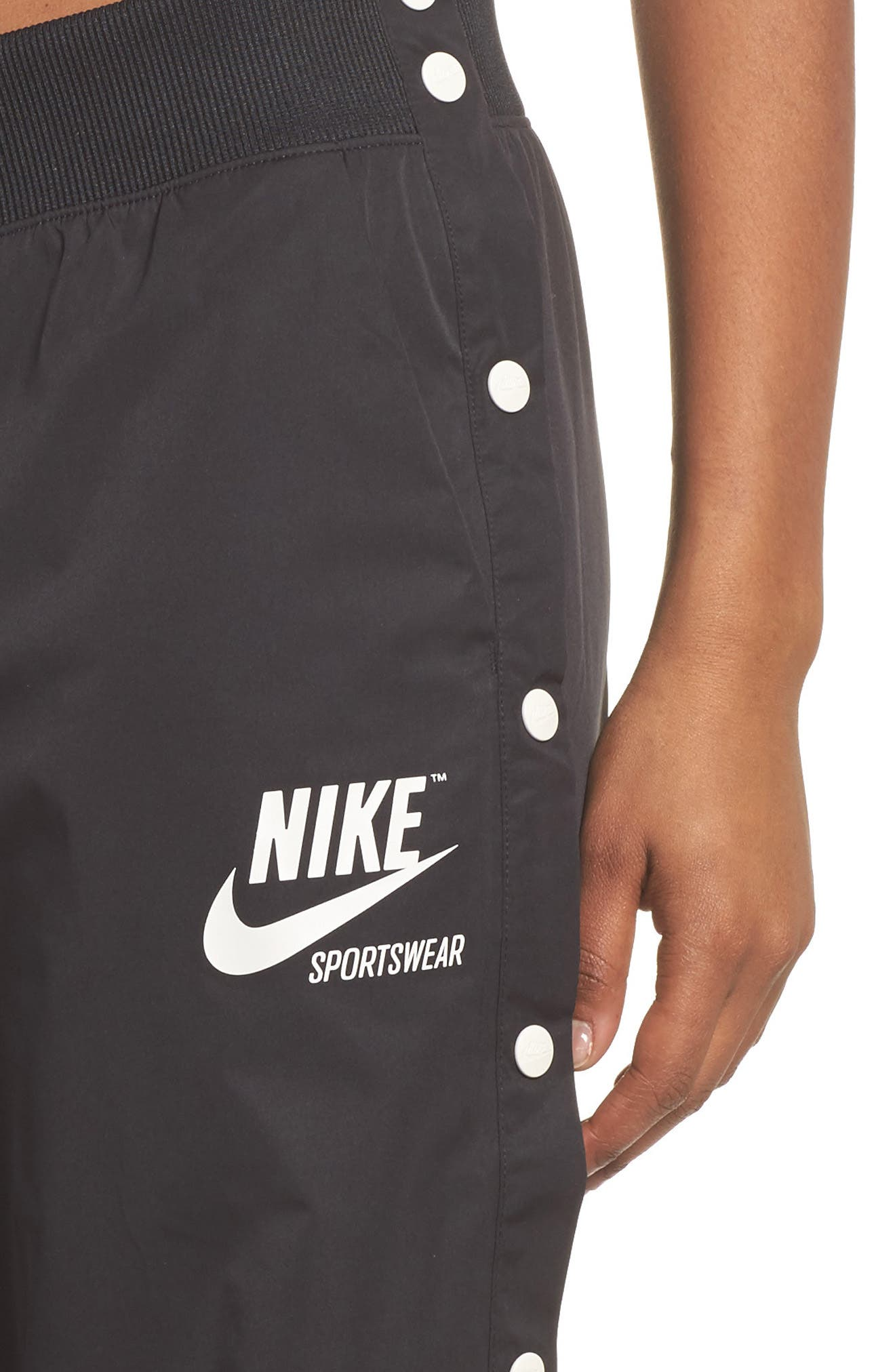 Sportswear Archive Snap Track Pants,                             Alternate thumbnail 4, color,                             Black/ Sail