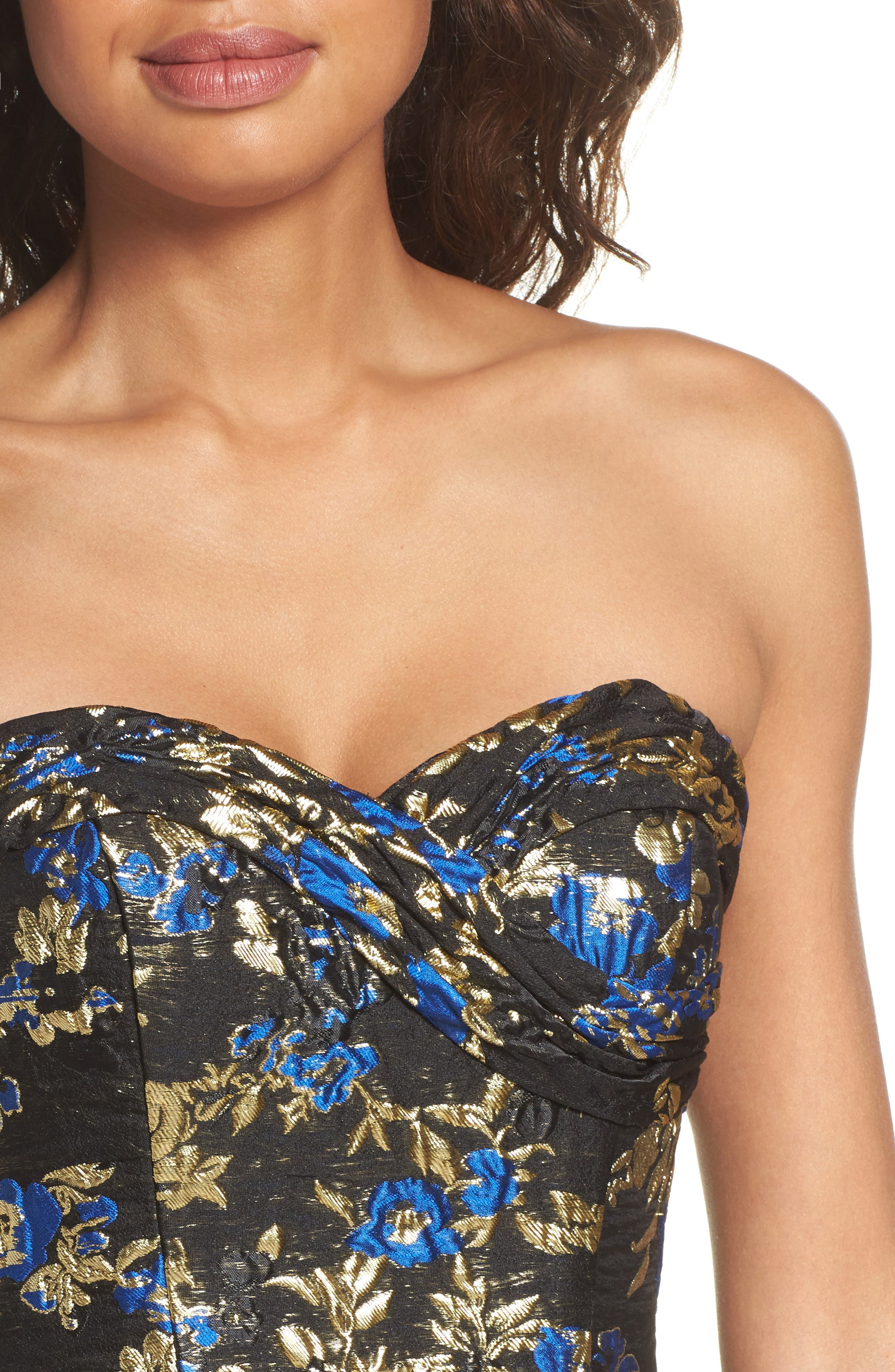Brocade Bustier Gown,                             Alternate thumbnail 4, color,                             Royal/ Black