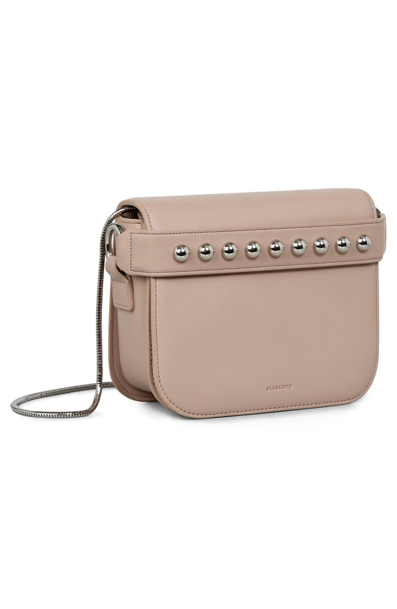 Suzi Studded Leather Clutch,                             Alternate thumbnail 7, color,                             Natural