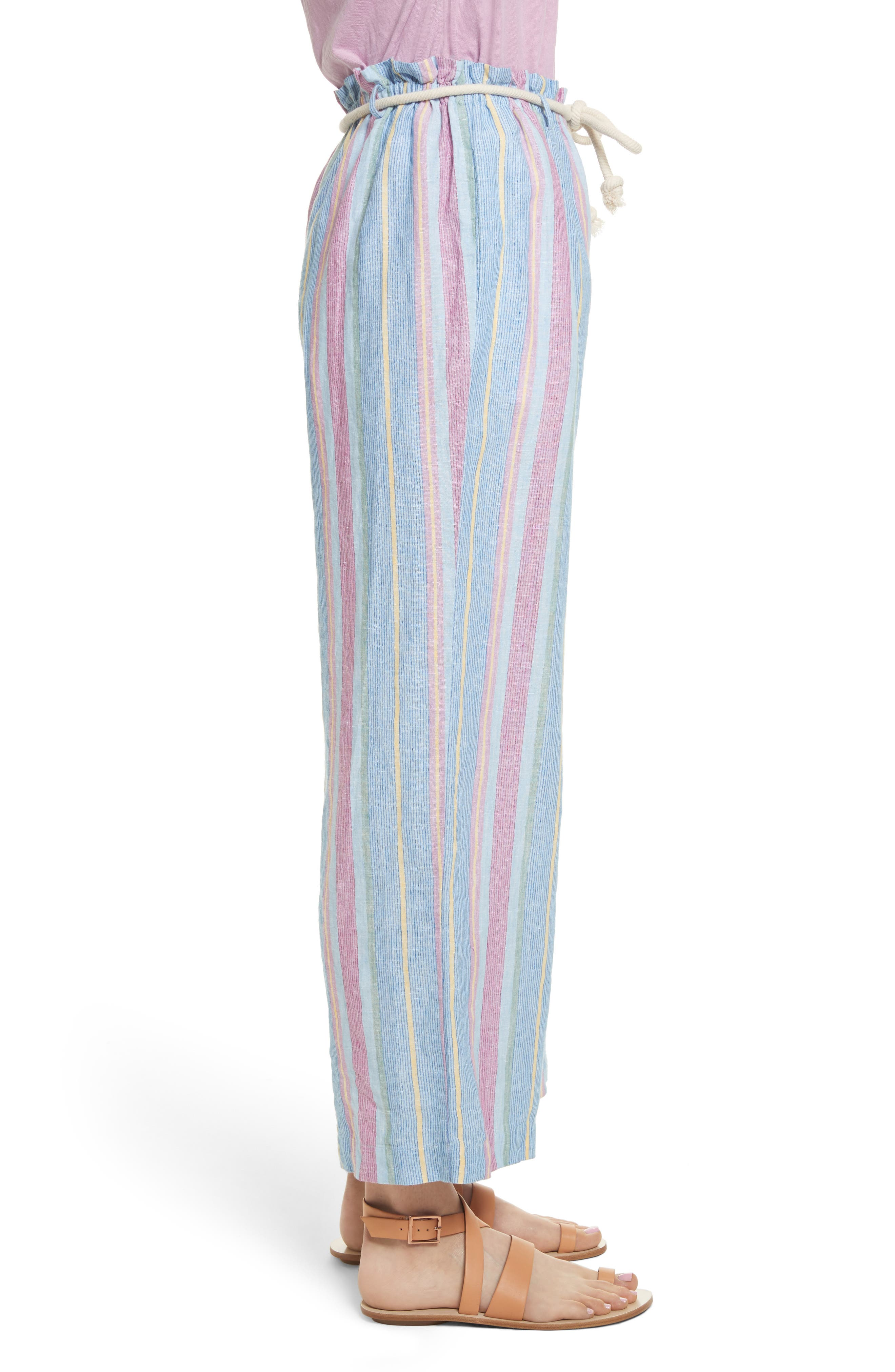 Easy Stripe Linen Pants,                             Alternate thumbnail 4, color,                             Purple Multi