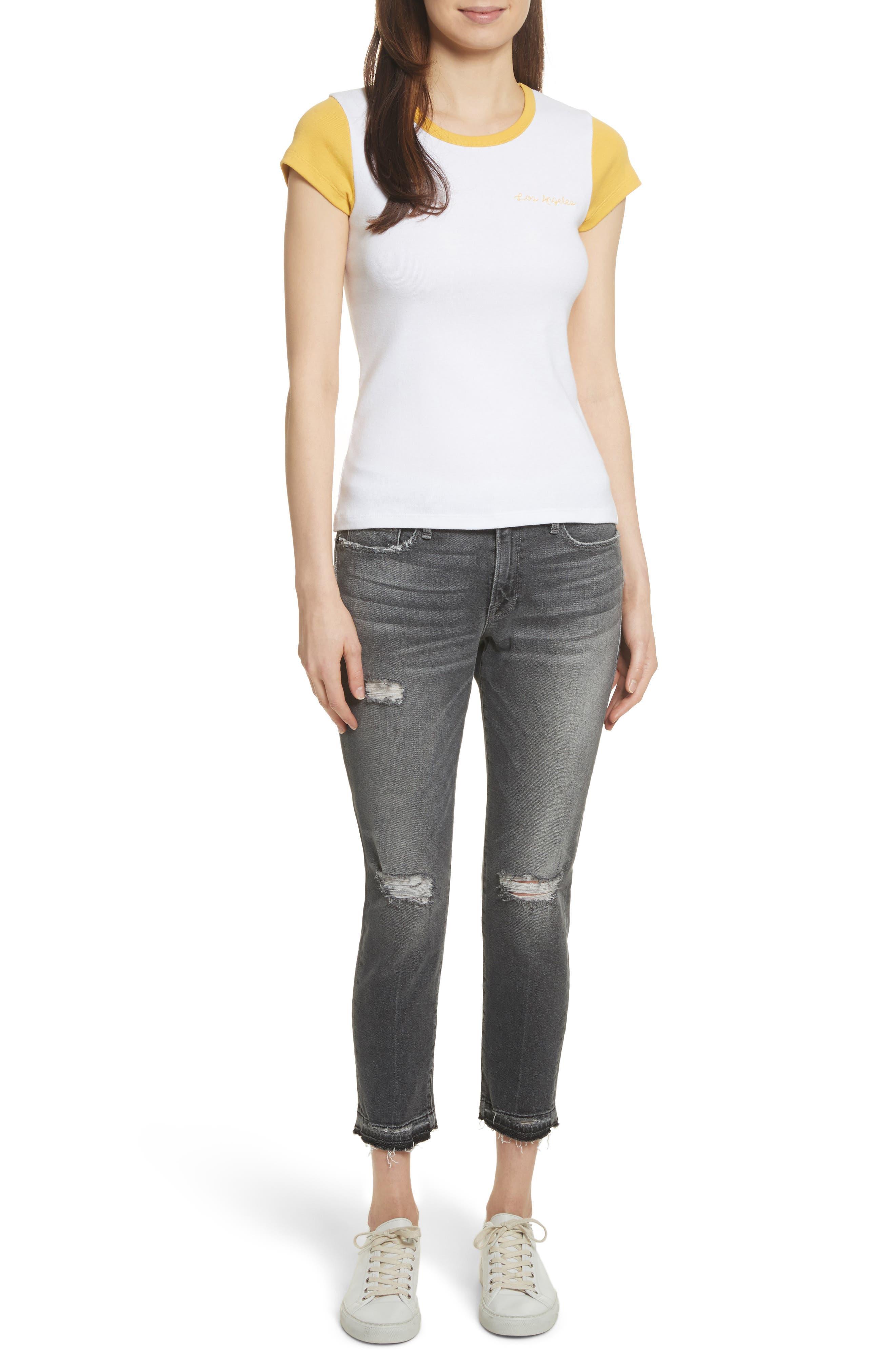 Alternate Image 2  - FRAME Le Garçon Ripped Released Hem Slim Jeans (Stockcross)