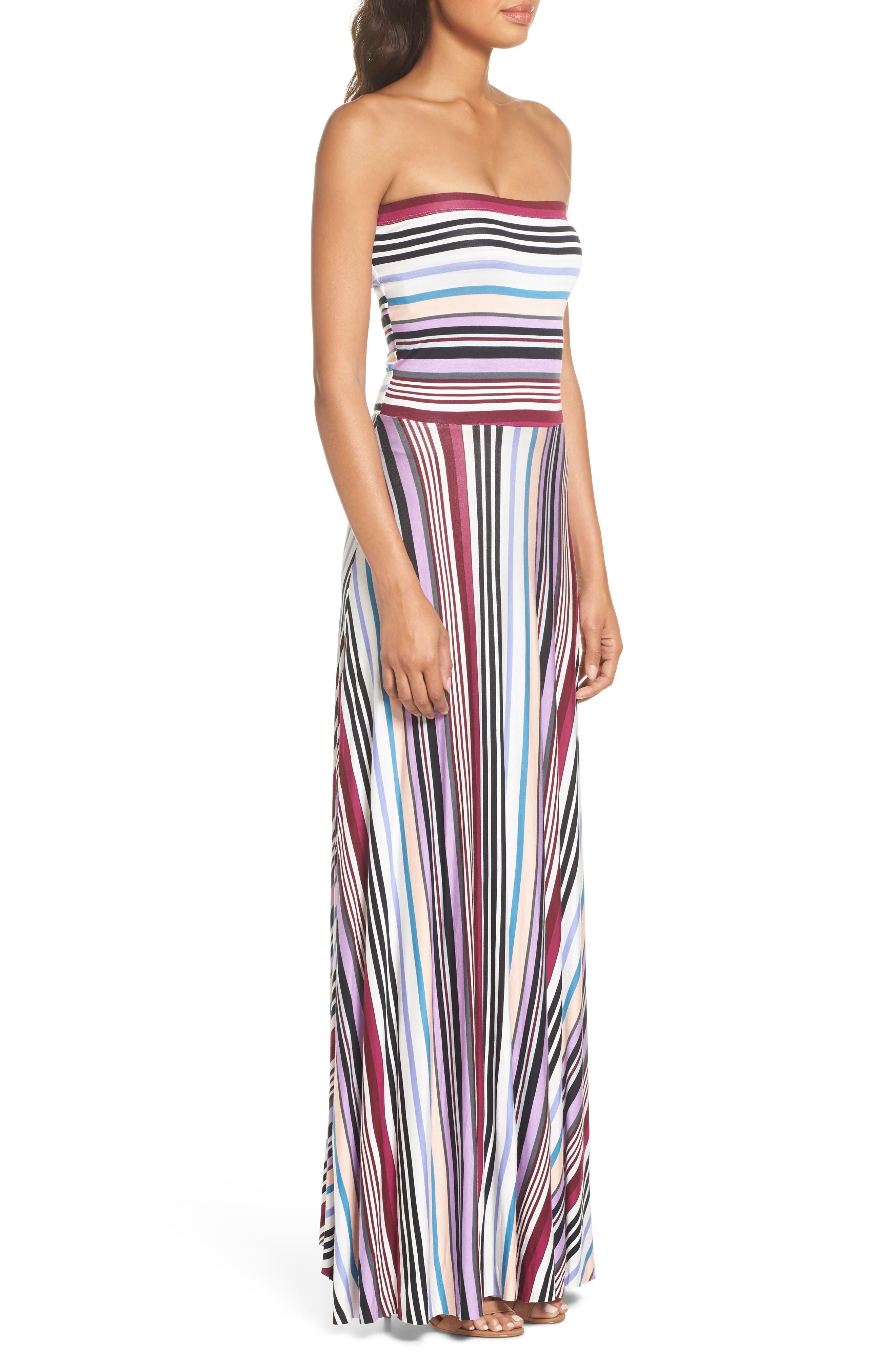 Clemette Strapless Maxi Dress,                             Alternate thumbnail 3, color,                             Purple Multi Stripe