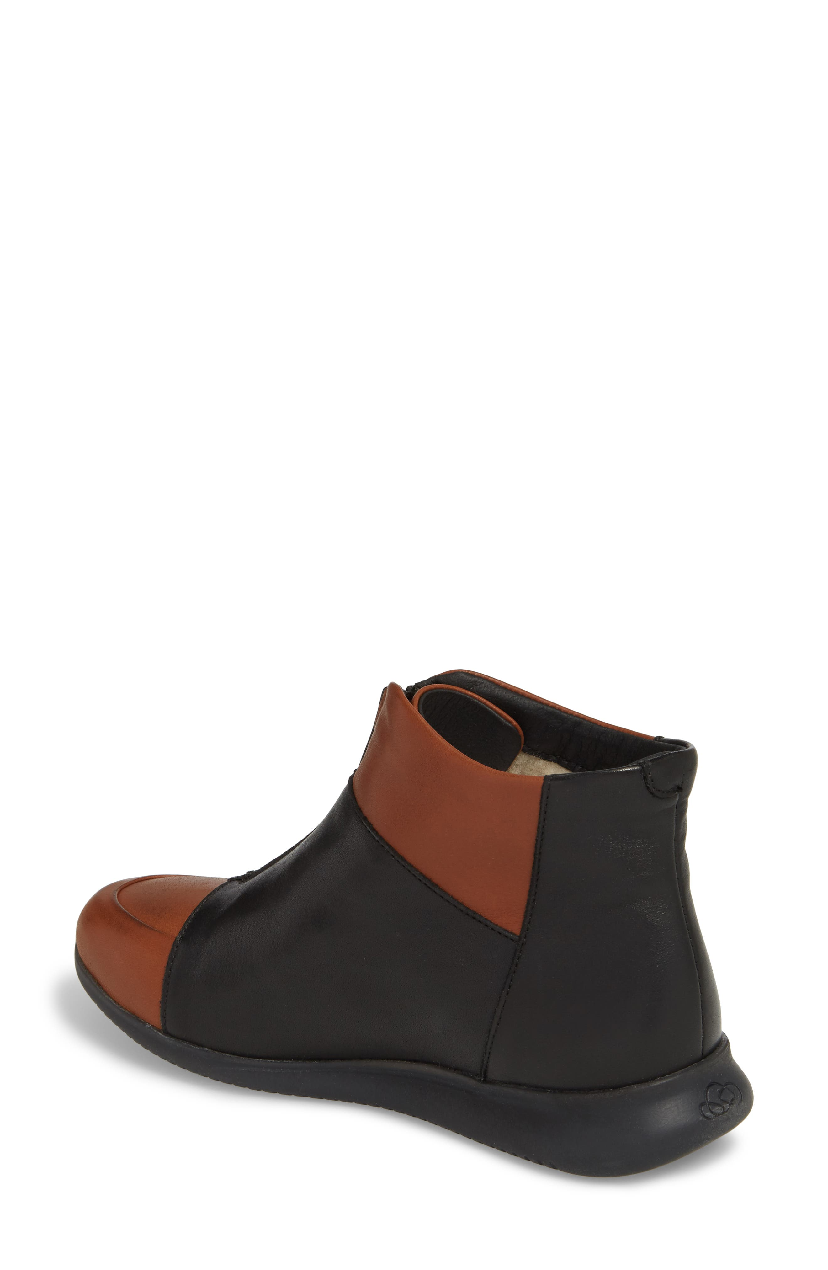 Roy Wool Lined Cap Toe Bootie,                             Alternate thumbnail 2, color,                             Cuoio/ Black Leather