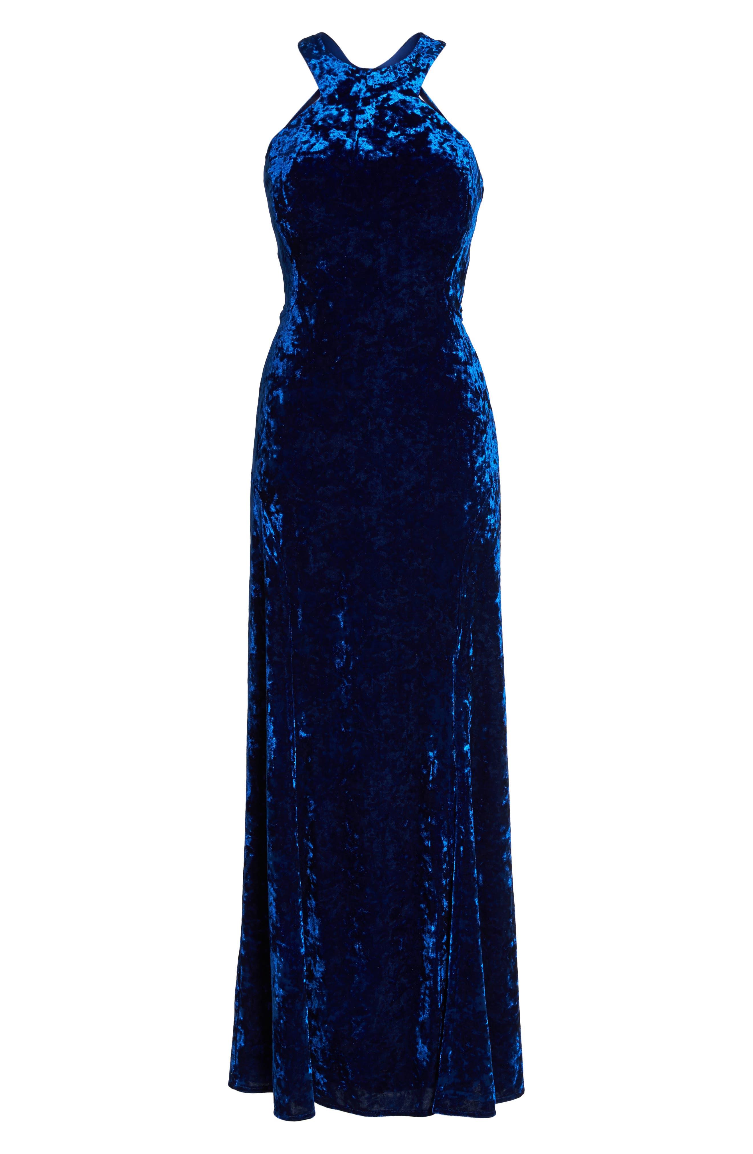 Cleo Strappy Back Velvet Gown,                             Alternate thumbnail 6, color,                             Sapphire