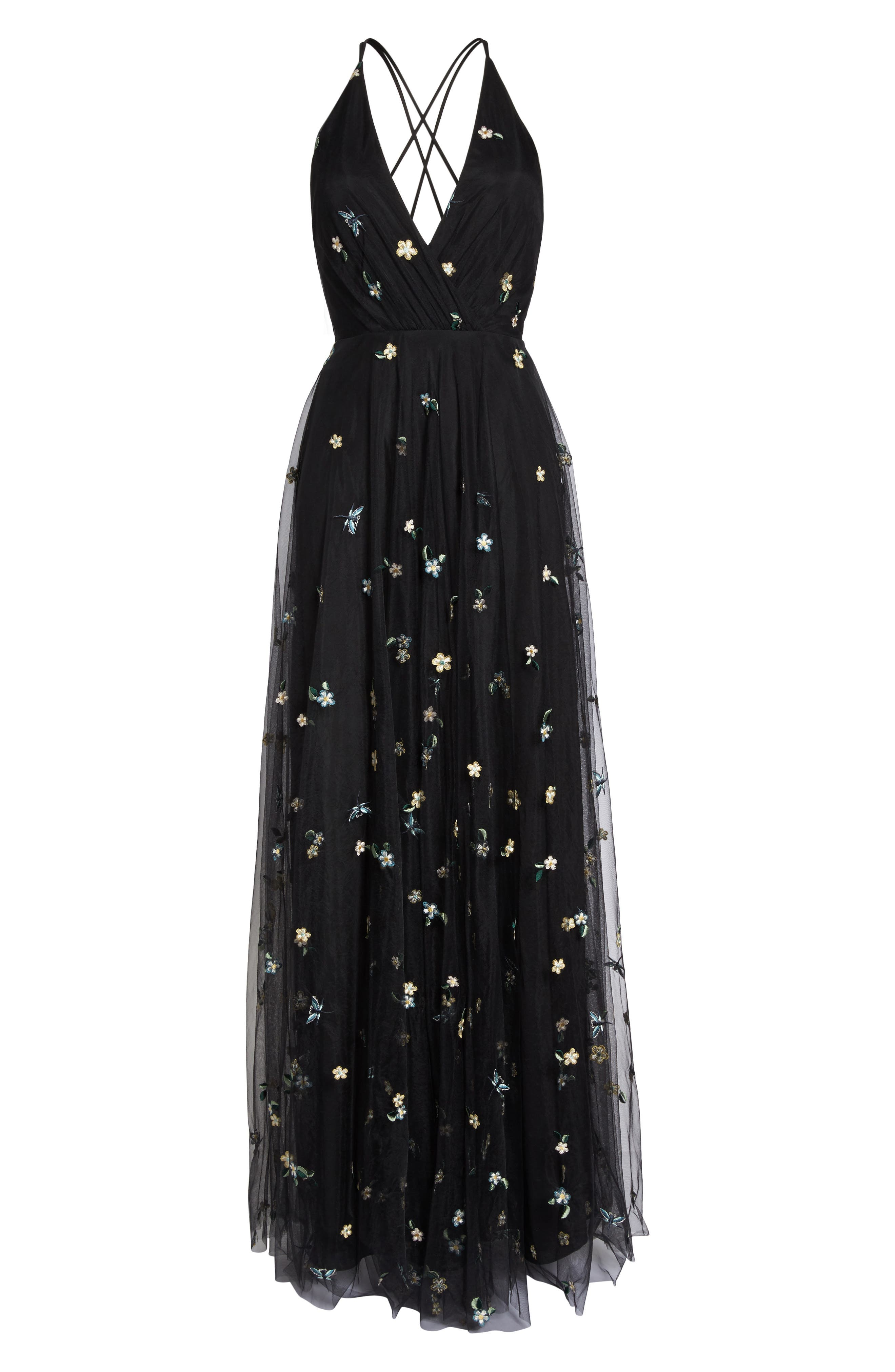 Chelsea Covent Garden Embroidered Gown,                             Alternate thumbnail 7, color,                             Black Multi