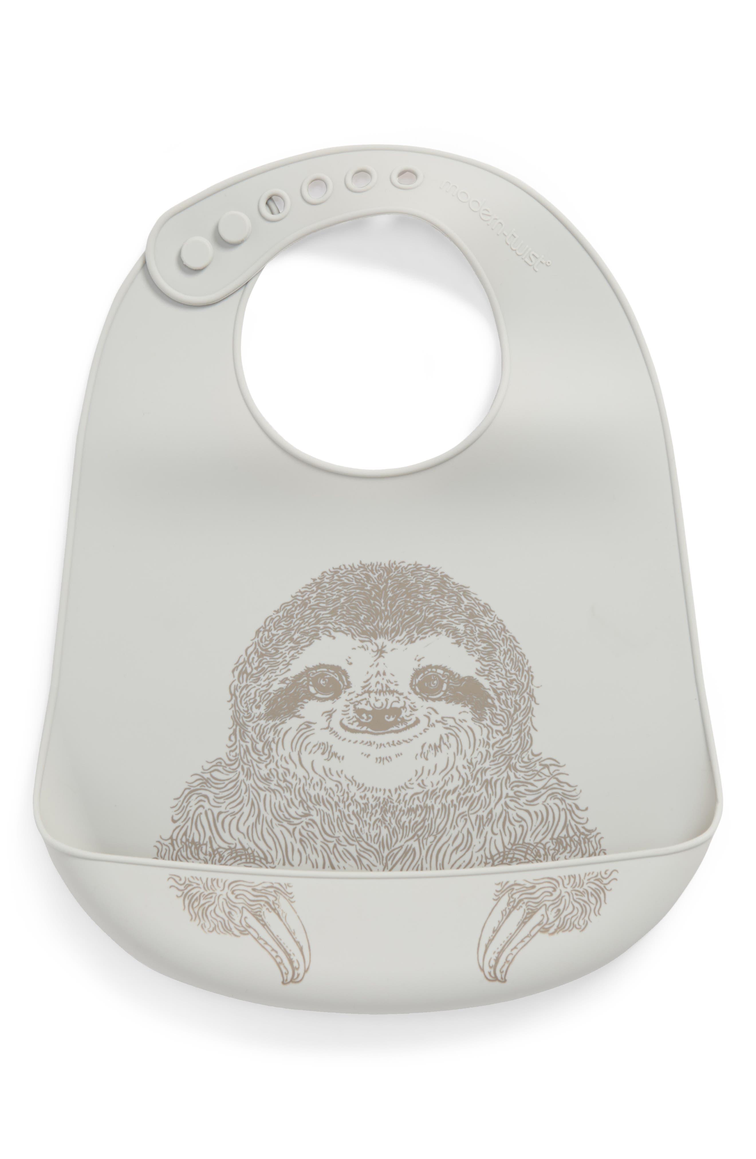 Silly Sloth Bucket Bib,                             Main thumbnail 1, color,                             Grey