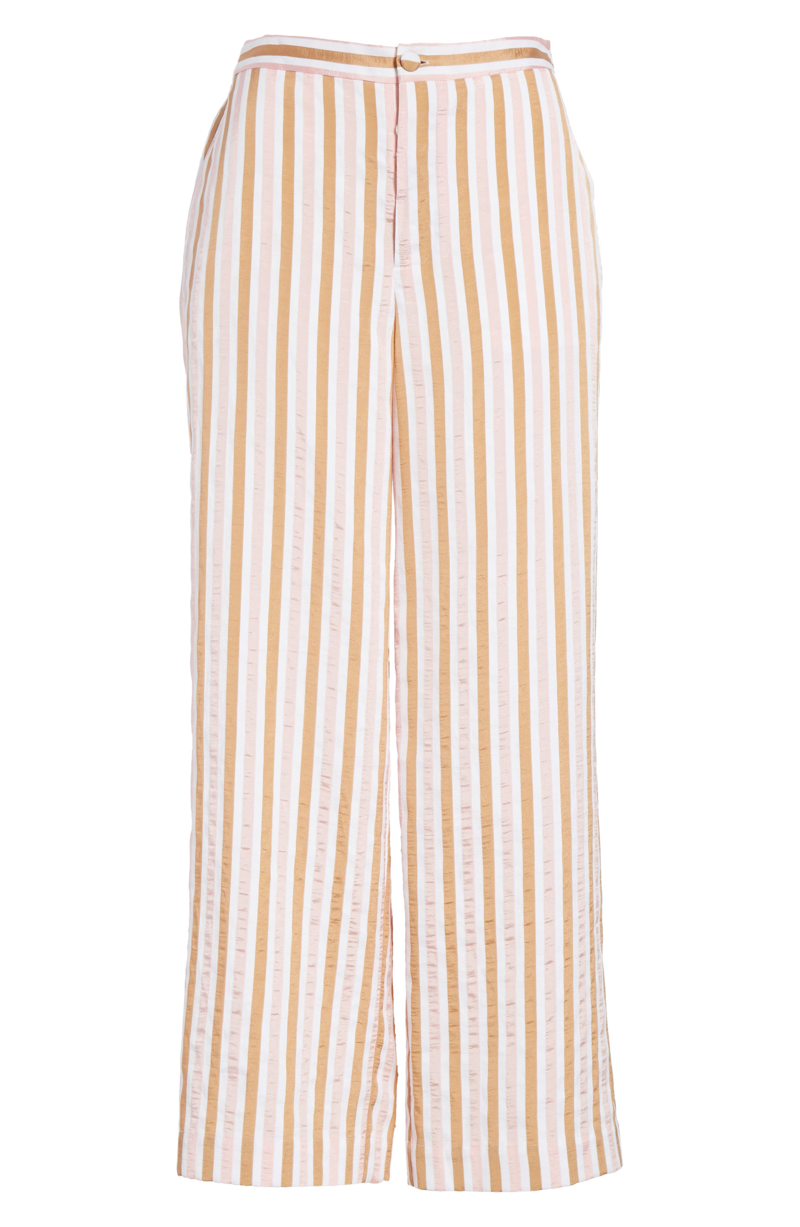 Stripe Relaxed Leg Crop Pants,                             Alternate thumbnail 7, color,                             Copper Multi