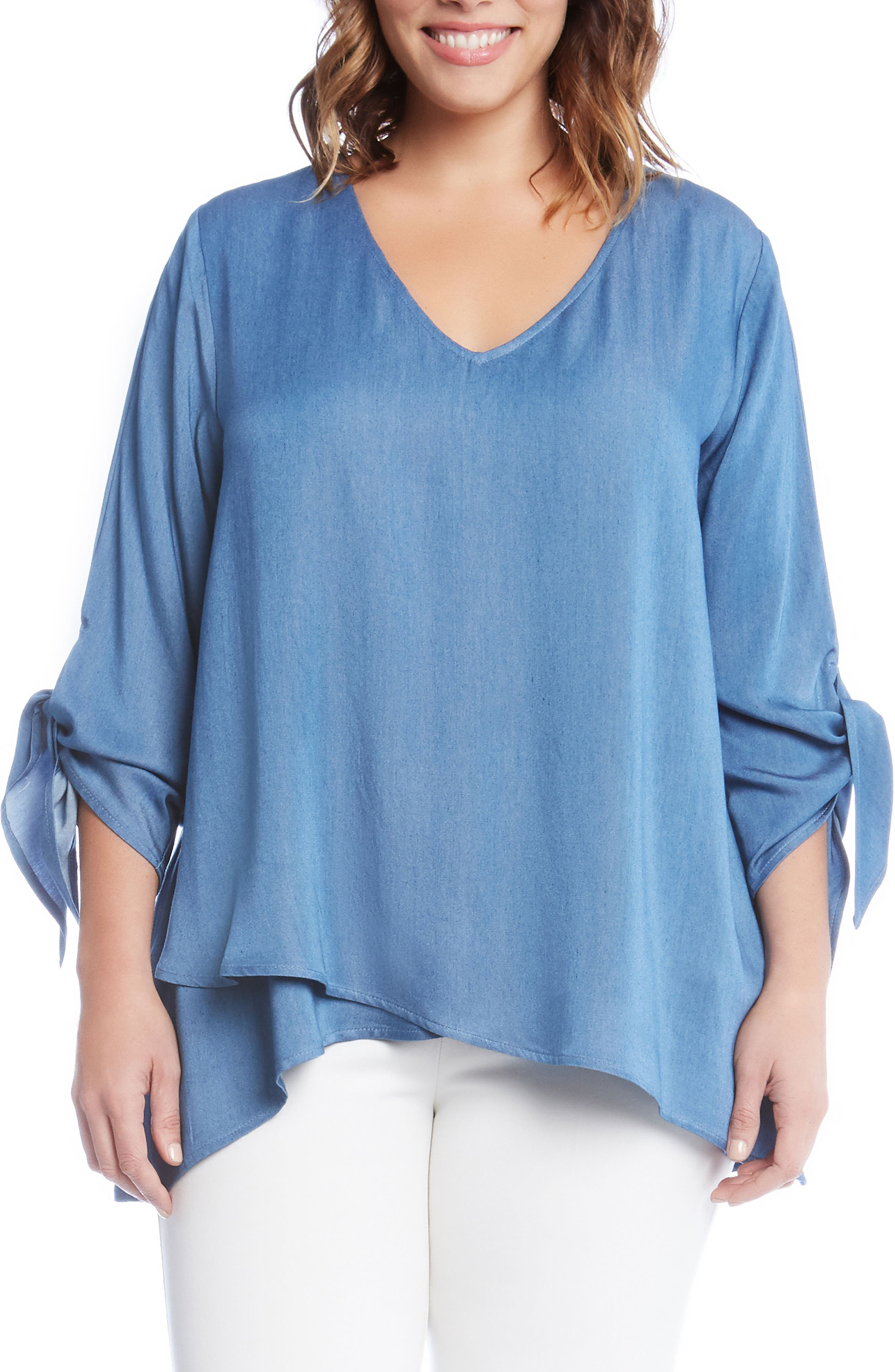 Tie Sleeve Chambray Top,                         Main,                         color, Blue