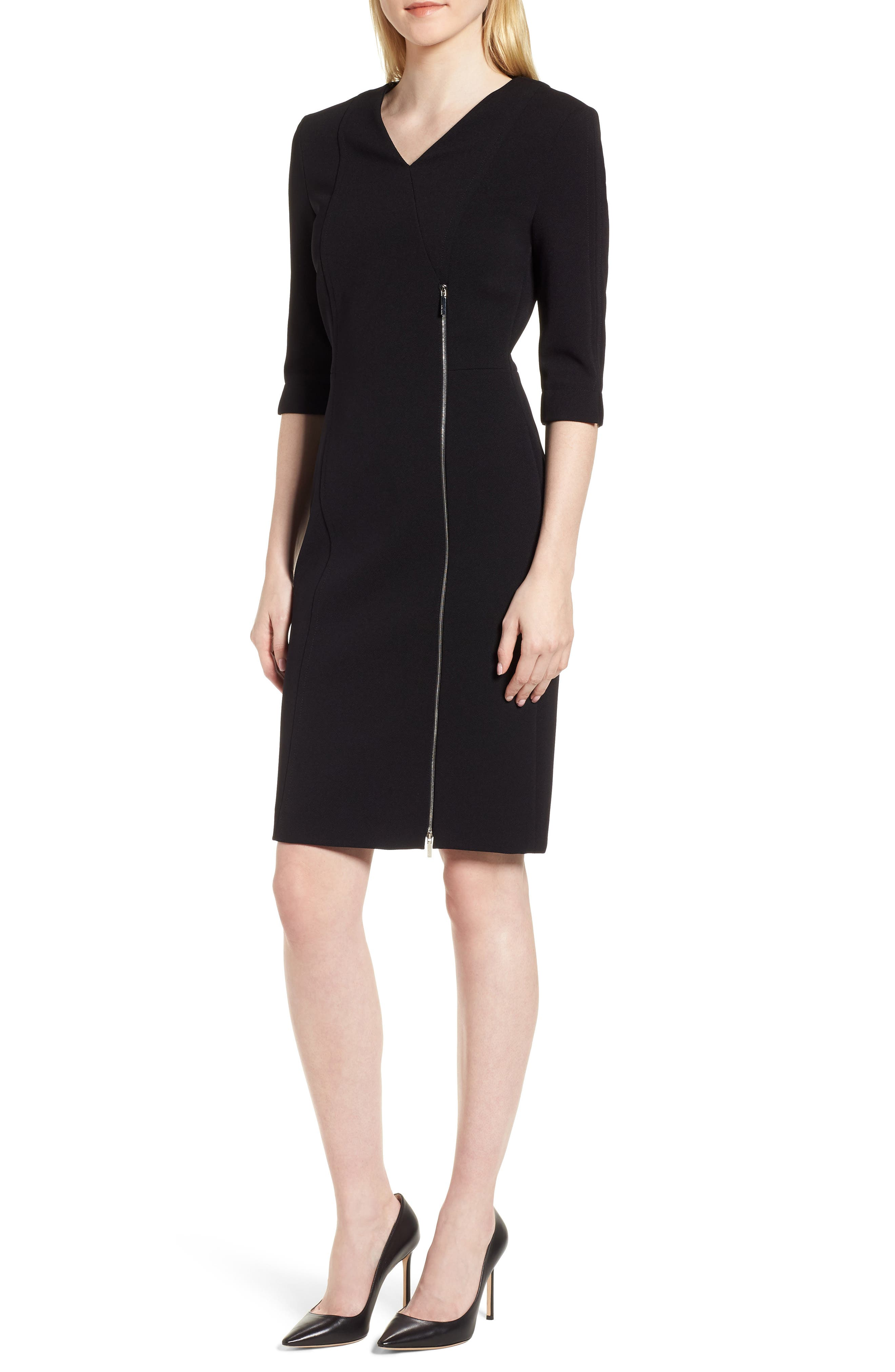 Deazema Twill Jersey Dress,                             Main thumbnail 1, color,                             Black