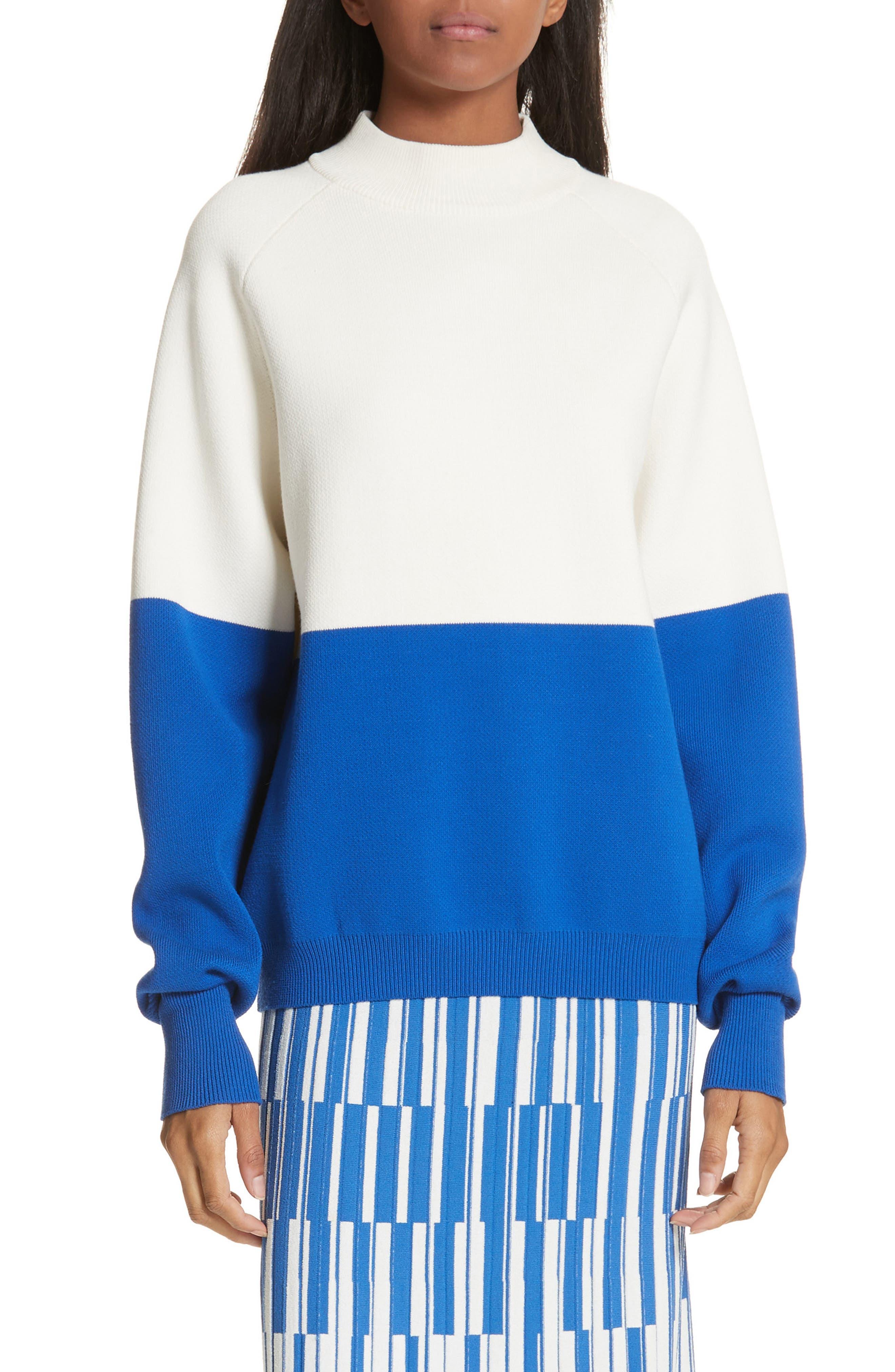 Colorblock Raglan Sweater,                         Main,                         color, Snow White/ Slalom Blue